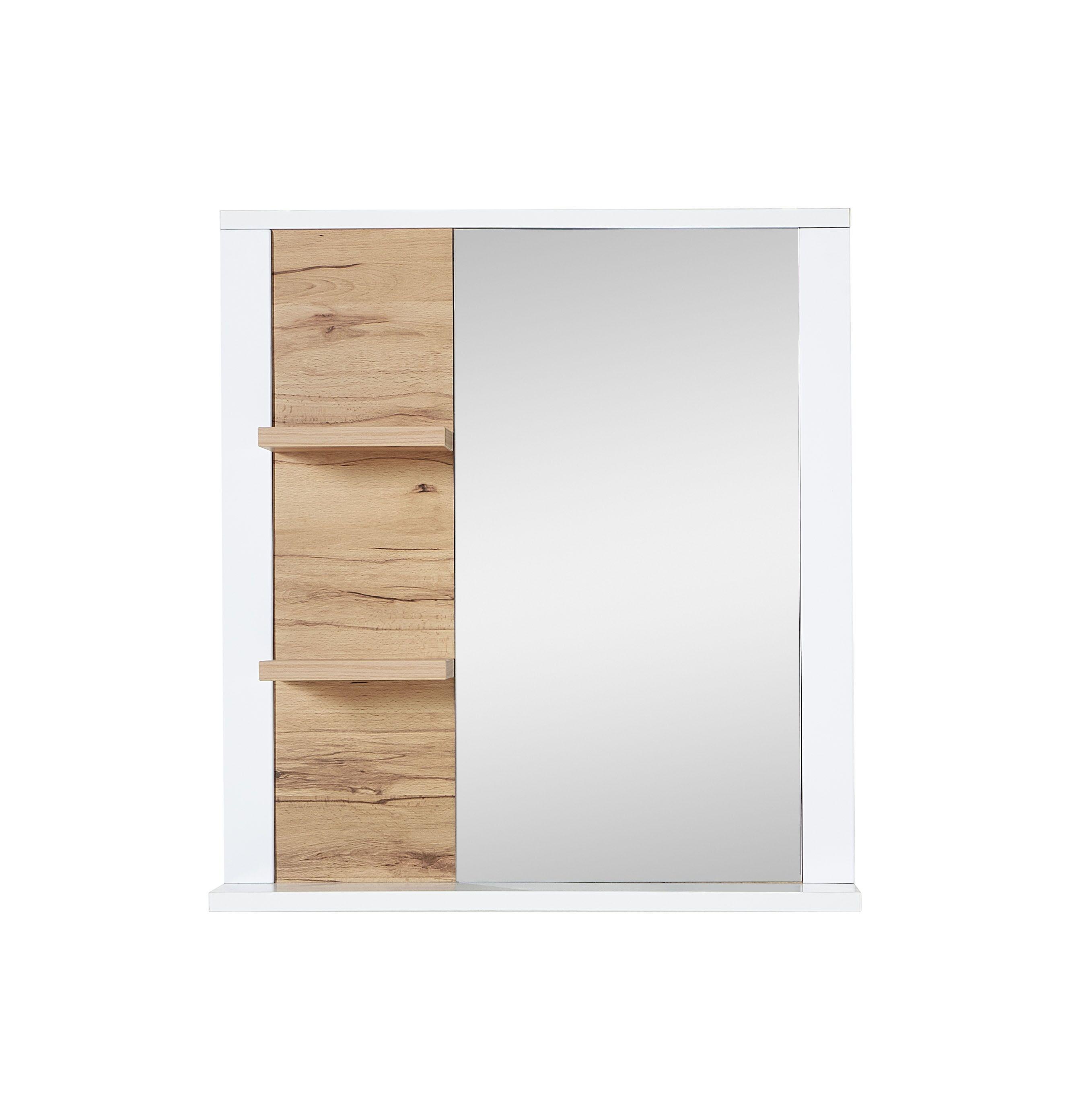 Oglinda decorativa cu 2 etajere din pal si MDF, Selina Alb / Natur, l73xA15xH80 cm imagine