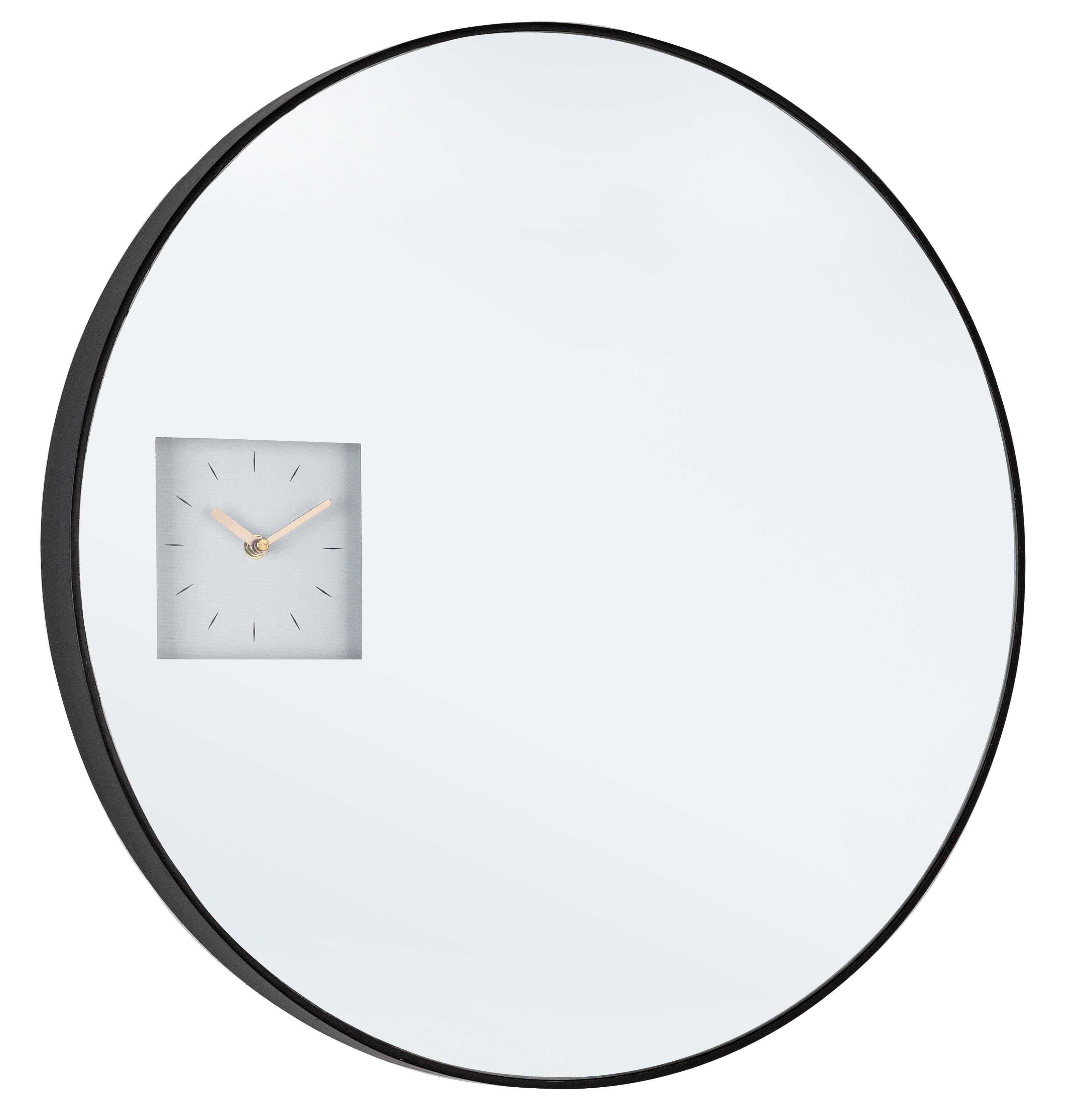 Oglinda decorativa cu ceas si rama din MDF Glace Negru, Ø60 cm
