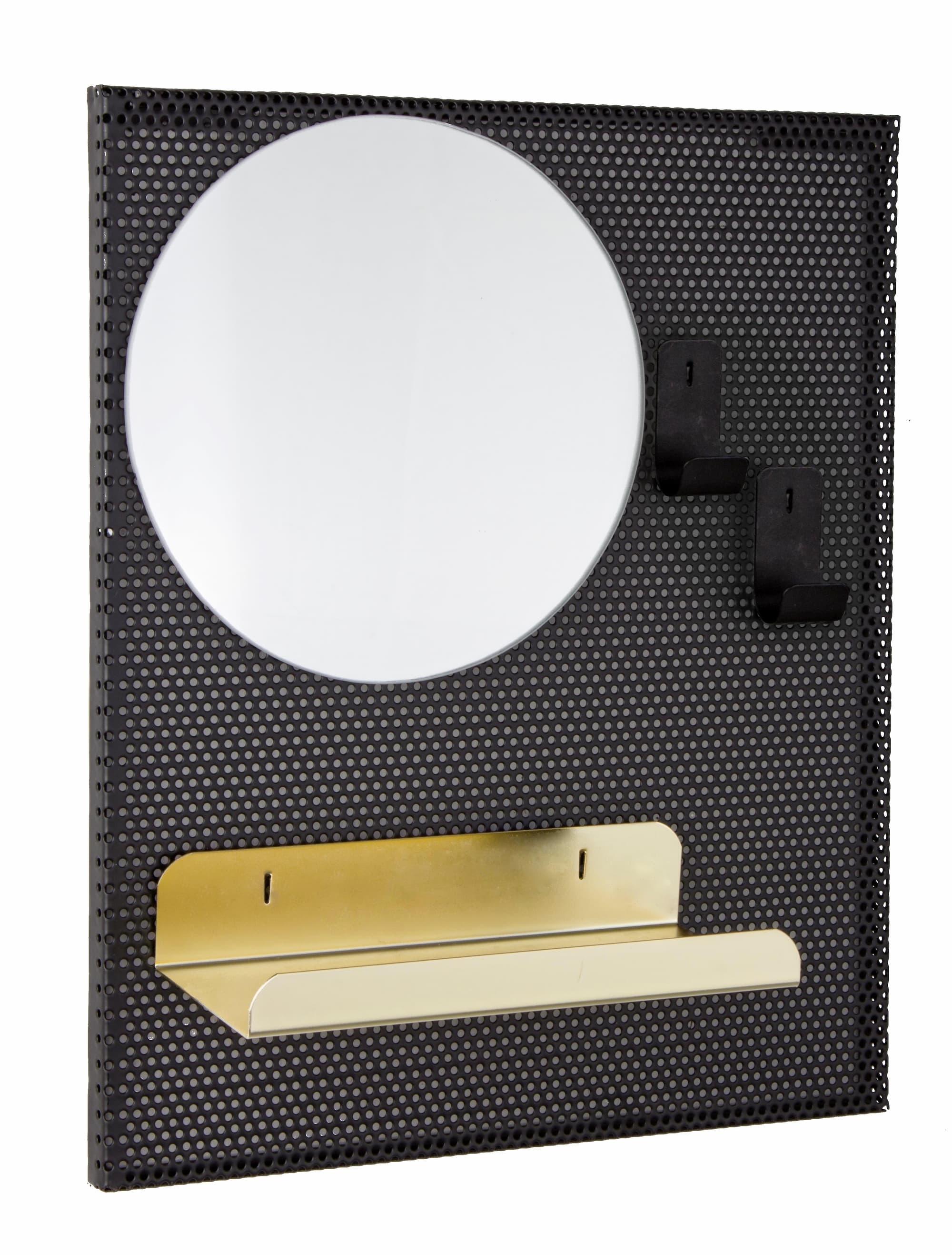 Oglinda decorativa cu etajera din metal Metric Negru, L37xl31 cm