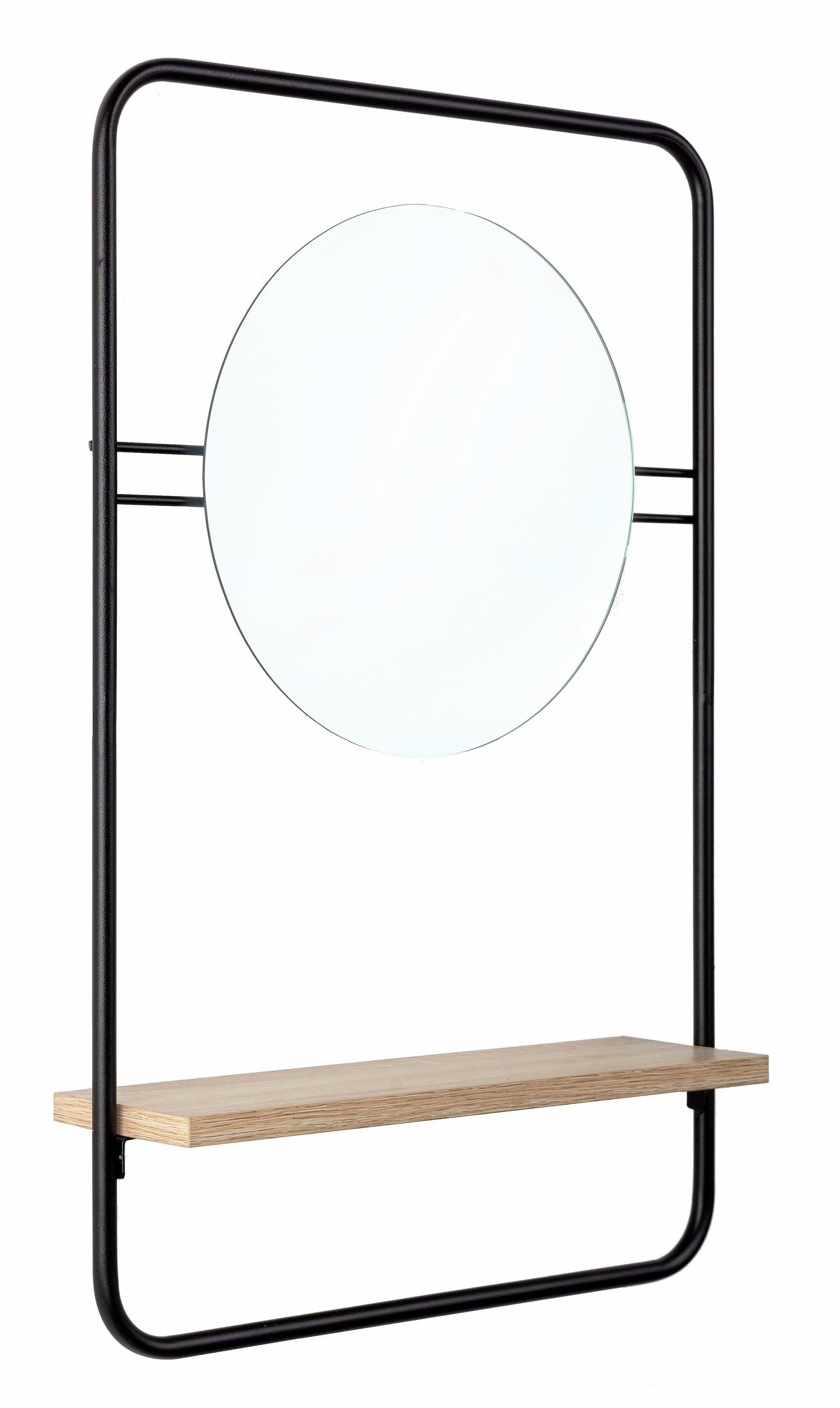 Oglinda decorativa cu etajera, din metal si pal Quiete Negru / Natural, L41xl64 cm