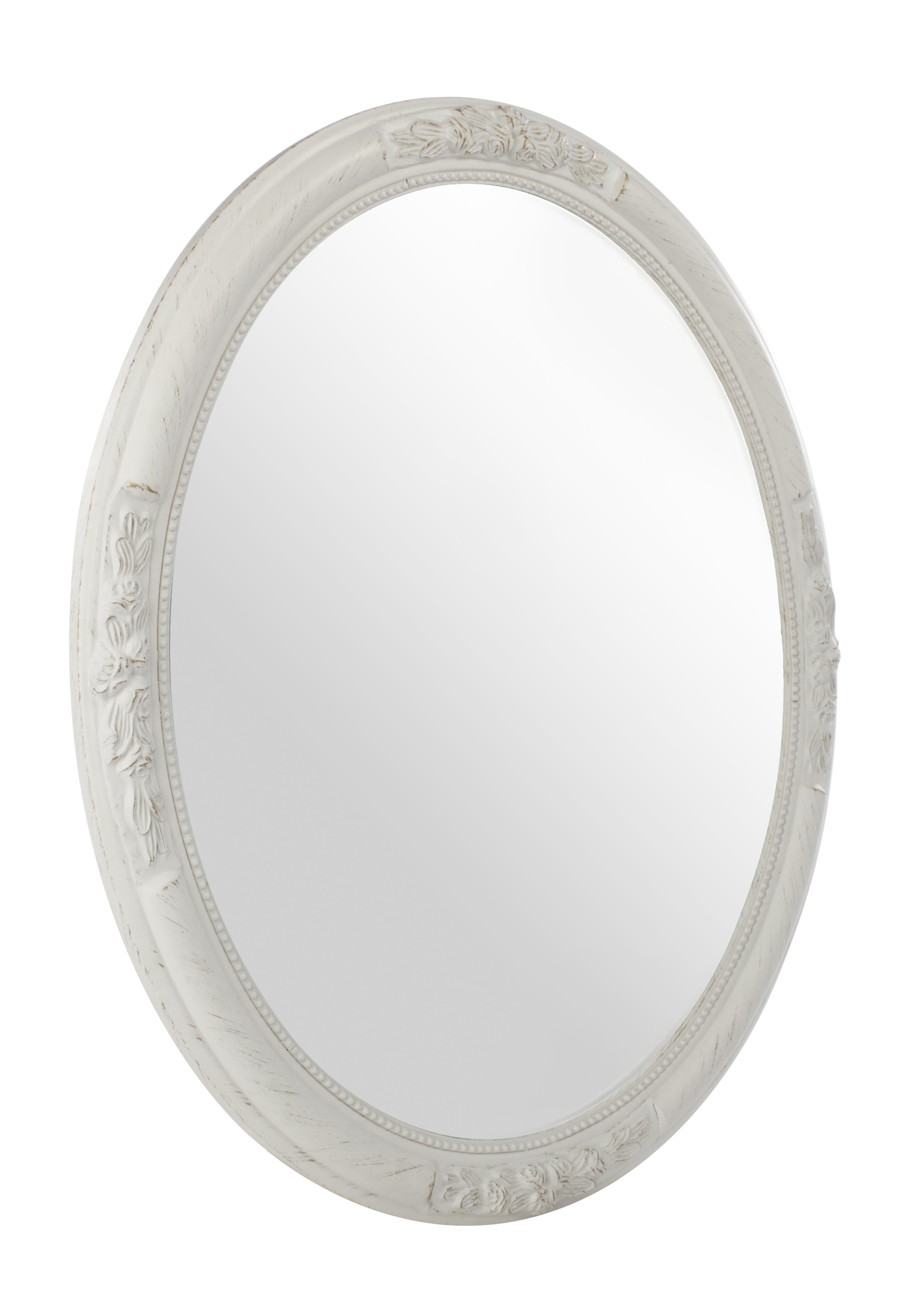 Oglinda decorativa cu rama din lemn de Paulownia Miro Oval Alb, L67xl57 cm