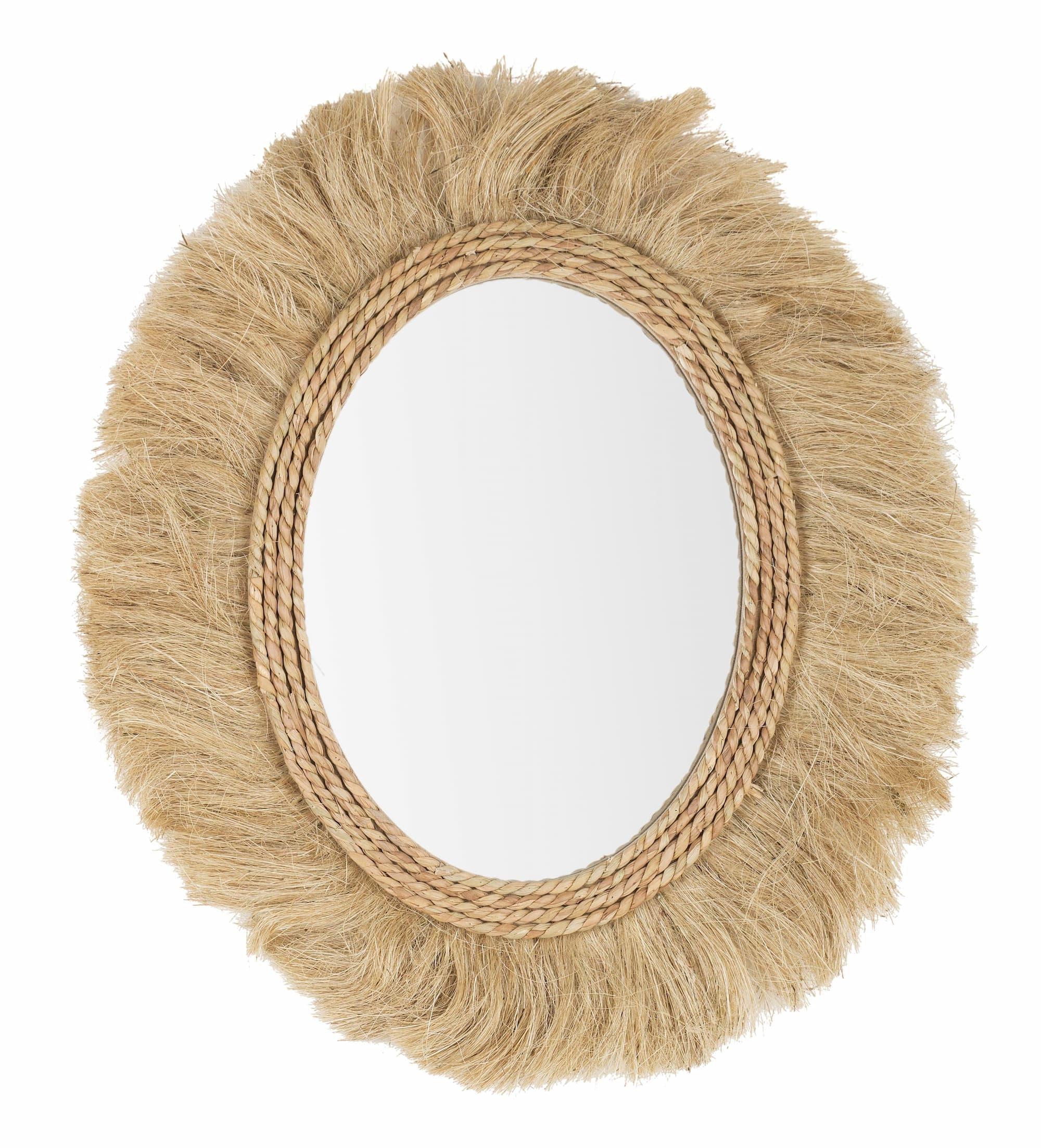 Oglinda decorativa cu rama din MDF si iuta Turkana Oval Natural, L65xl55 cm