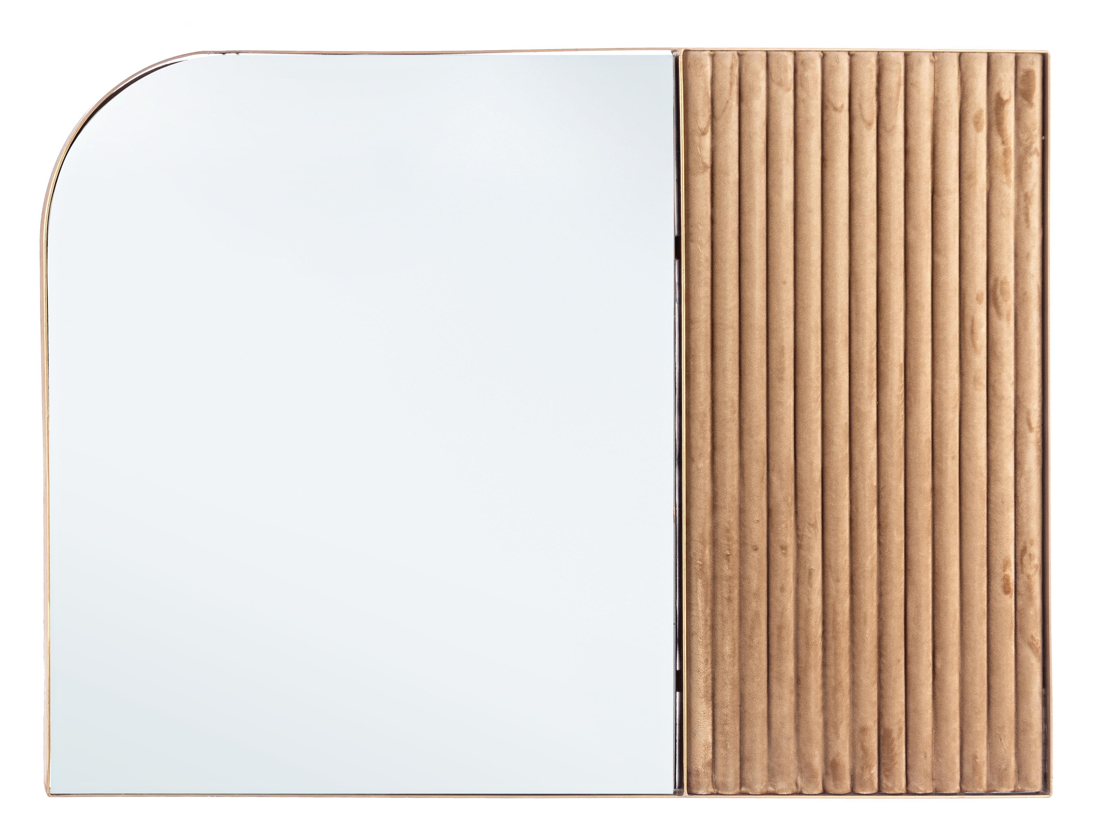 Oglinda decorativa cu rama din metal si stofa Rayn Velvet Auriu, L90xl90 cm