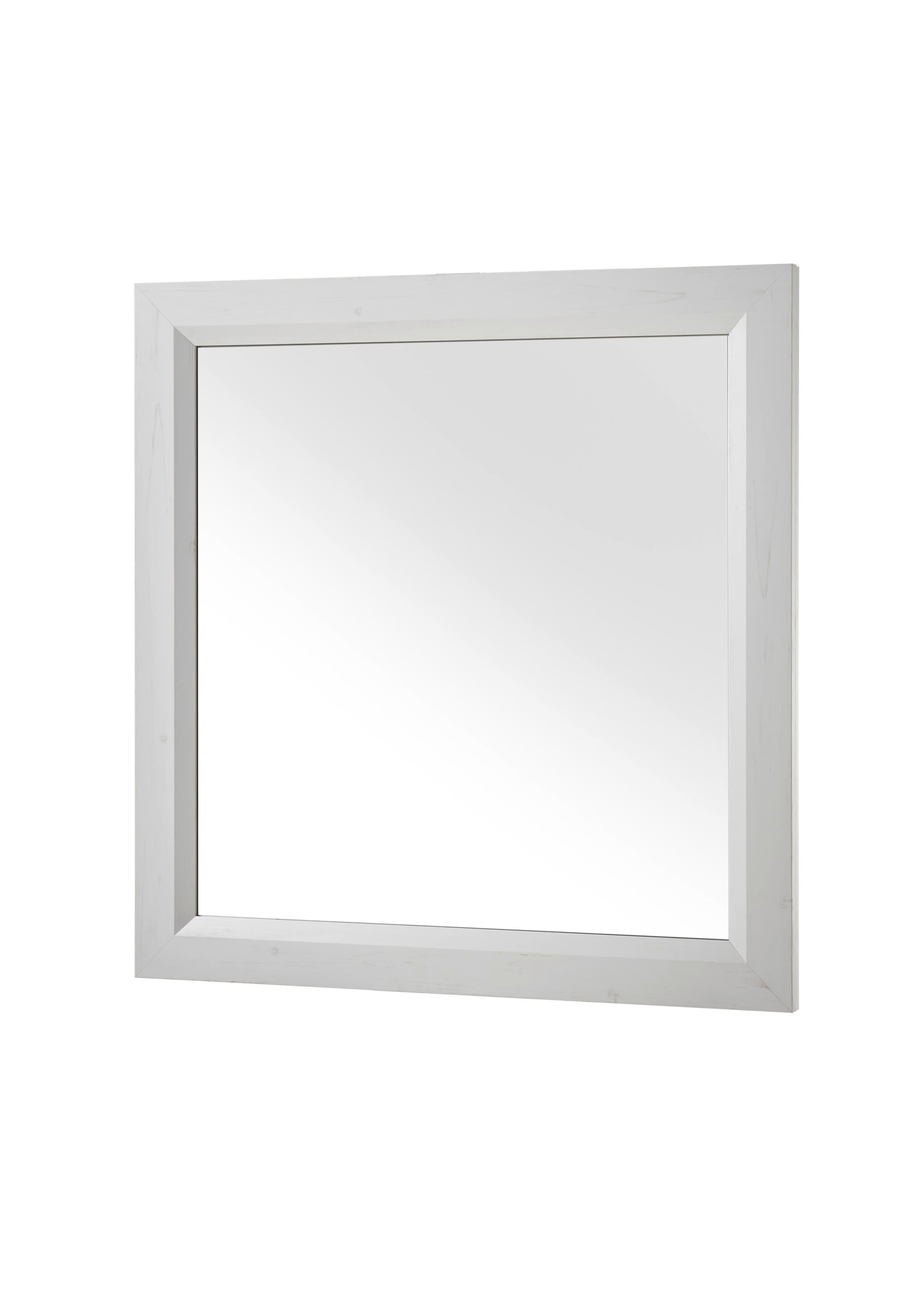 Oglinda decorativa cu rama din pal Ava Alb, L91xl93 cm
