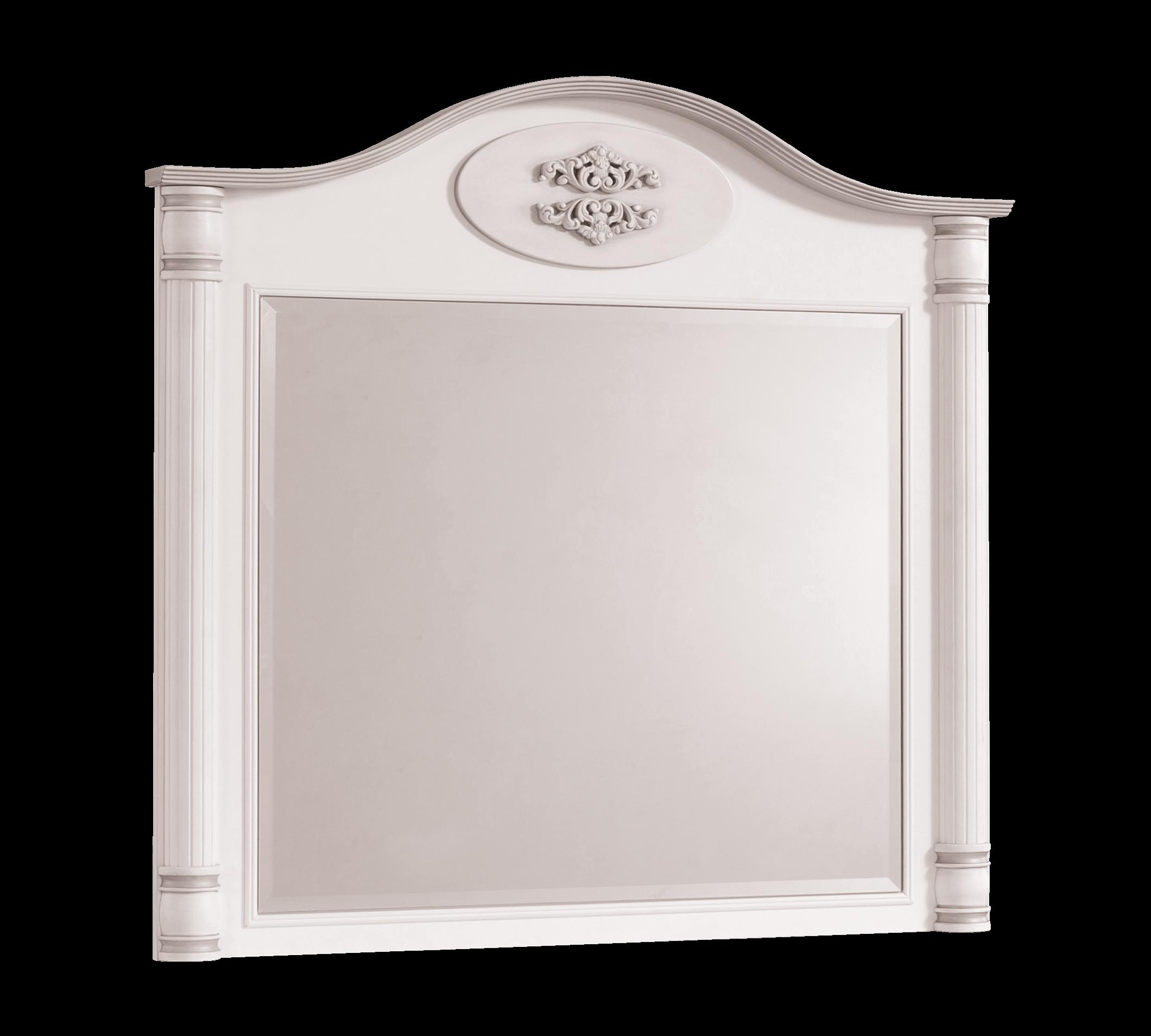 Oglinda decorativa cu rama din pal, pentru copii si tineret Romantic White, l90xA7xH88 cm