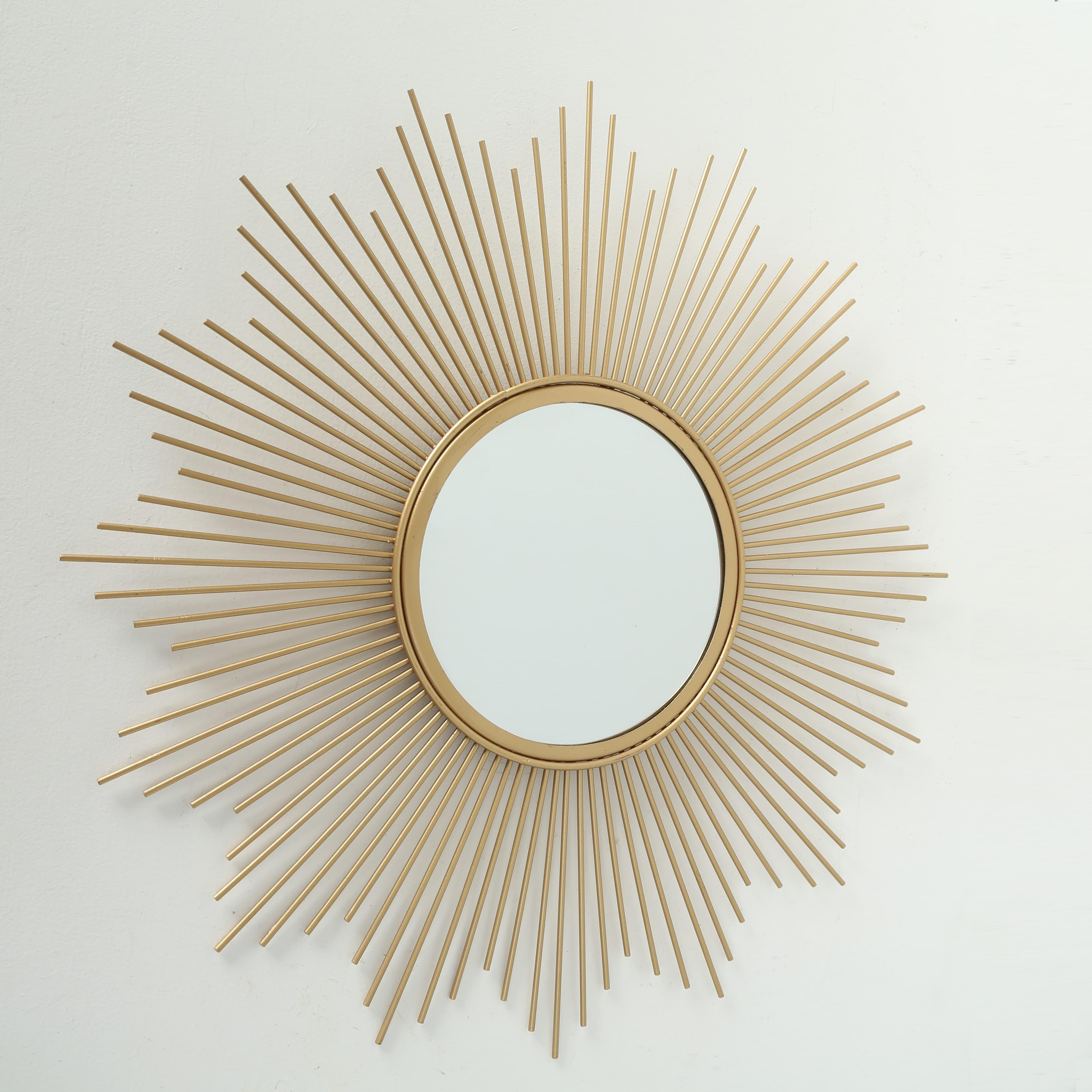 Oglinda decorativa cu rama metalica Brooklyn Auriu, Ø50 cm