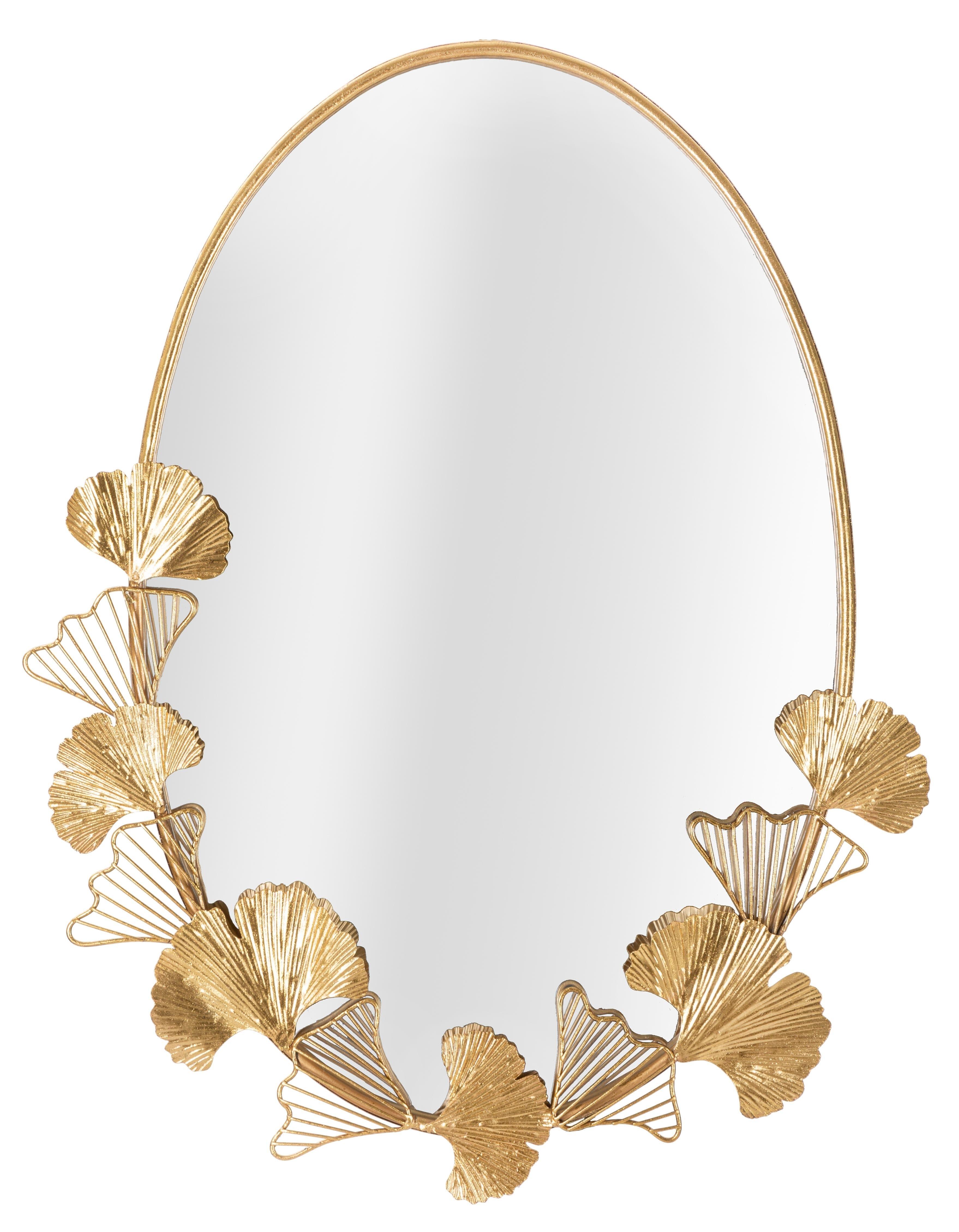 Oglinda decorativa cu rama metalica Little Leaf Auriu, L61,5xl78 cm