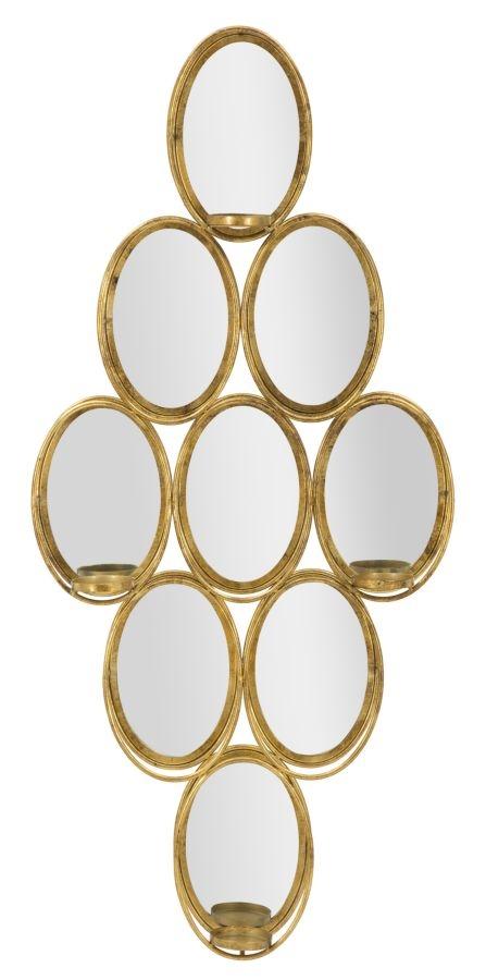Oglinda decorativa cu suport lumanari Glam Gold l54xA10xH118 cm