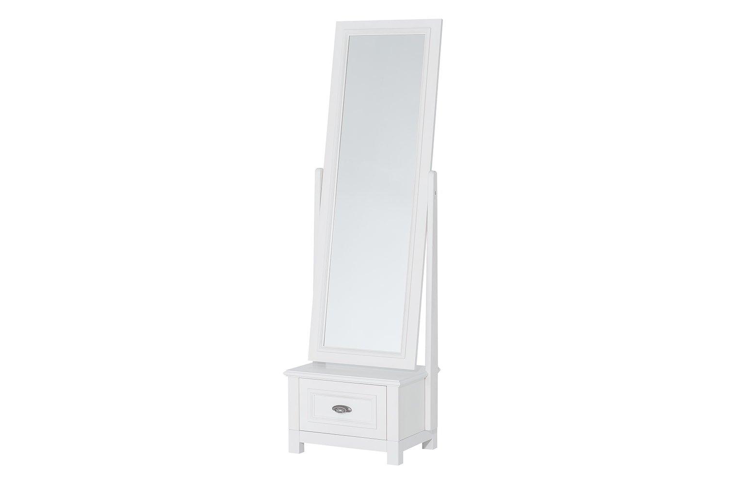 Oglinda decorativa din furnir si pal, cu 1 sertar Madison 70 Alb, l52xA41xH177 cm poza