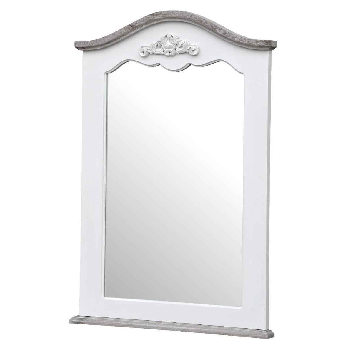 Oglinda decorativa din lemn de plop si MDF Rimini White RI053W