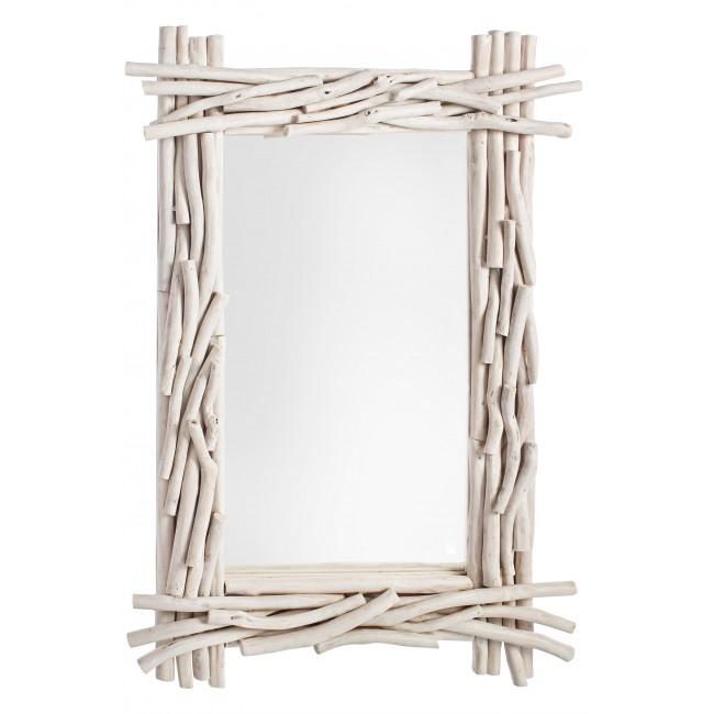Oglinda decorativa din lemn de tec Sahel Ivoir, L90xl60 cm imagine