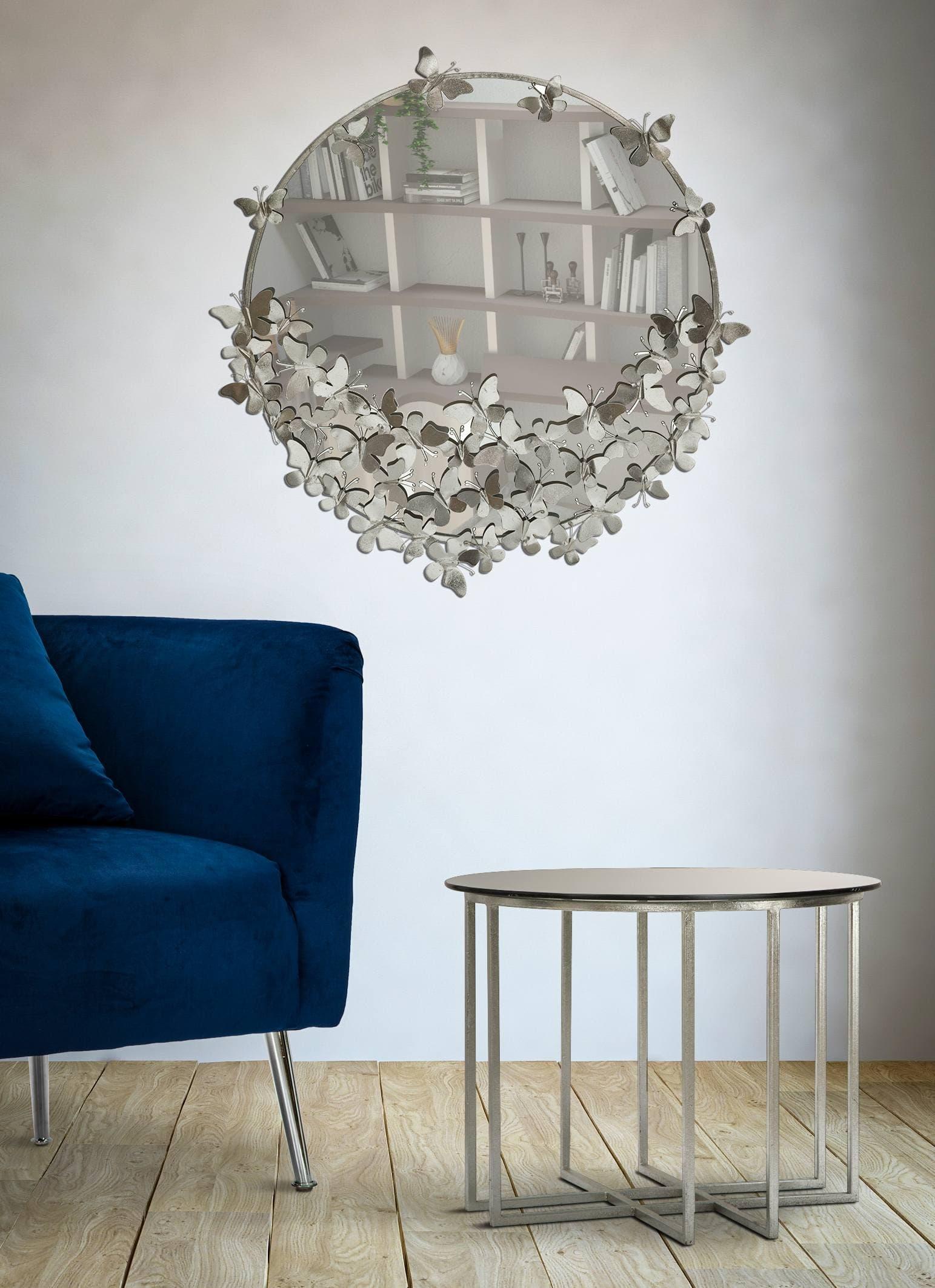 Oglinda decorativa din metal Butterfly Argintiu, Ø91 cm imagine
