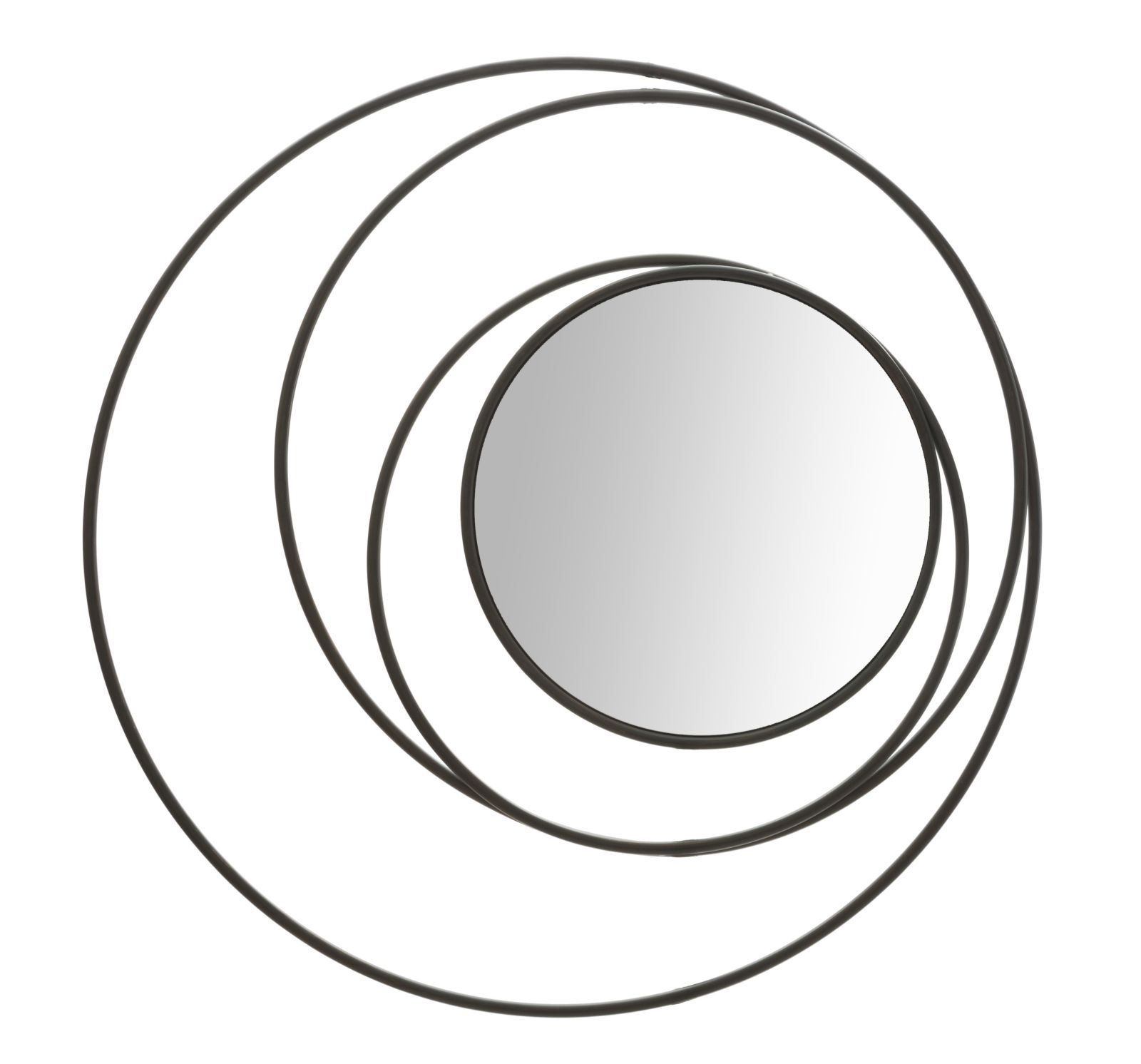 Oglinda decorativa din metal Circles Negru, Ø80 cm