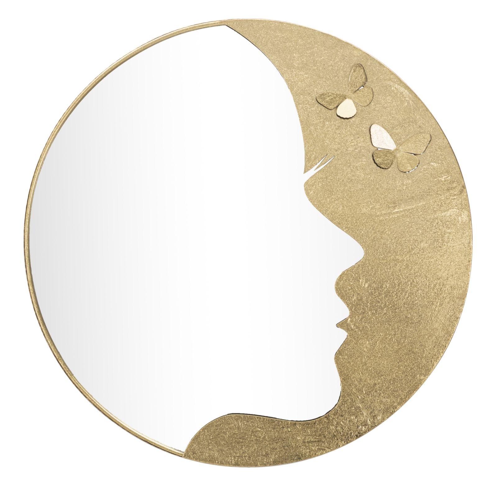 Oglinda decorativa cu rama metalica Glam Lady Luxy Auriu, Ø80 cm
