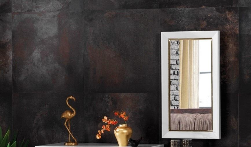 Oglinda decorativa din pal Toscana Alb / Auriu, L45xl80 cm