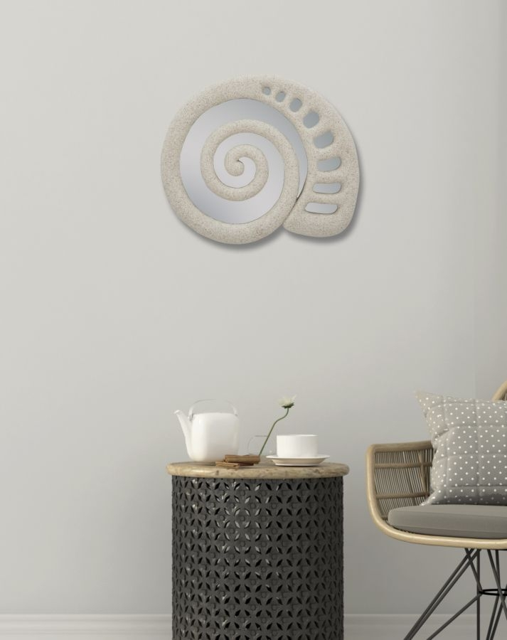 Oglinda decorativa din rasina Shell Gri, 32,5 x 27,5 cm imagine