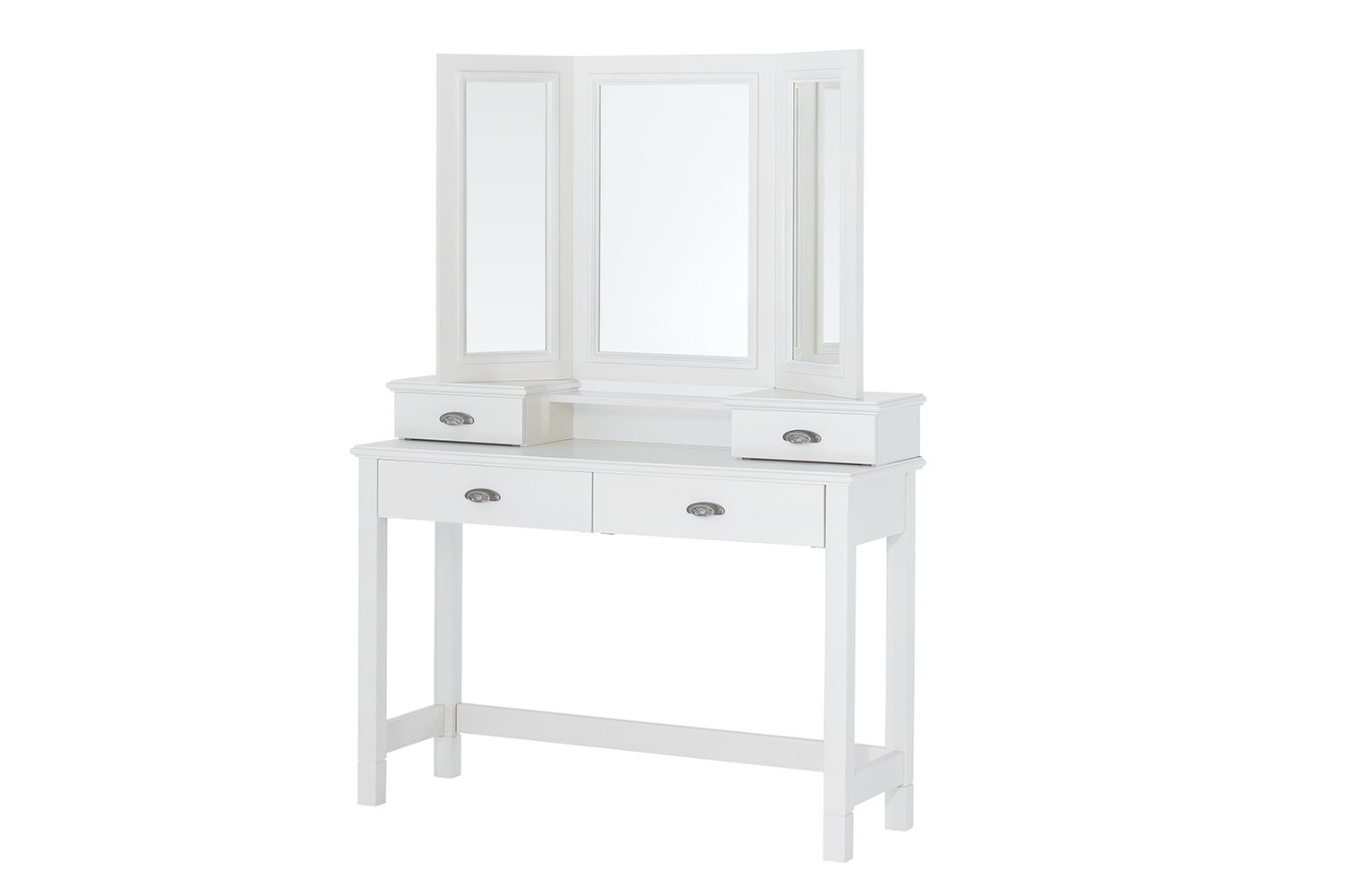 Masa de toaleta cu oglinda si sertare din lemn de mesteacan Madison White L114xL42xH163 cm