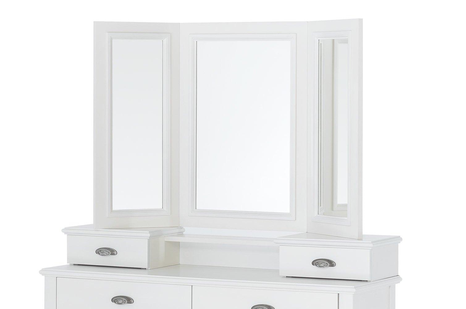 Oglinda decorativa din furnir si pal Madison 25 Alb, L112xl72 cm imagine