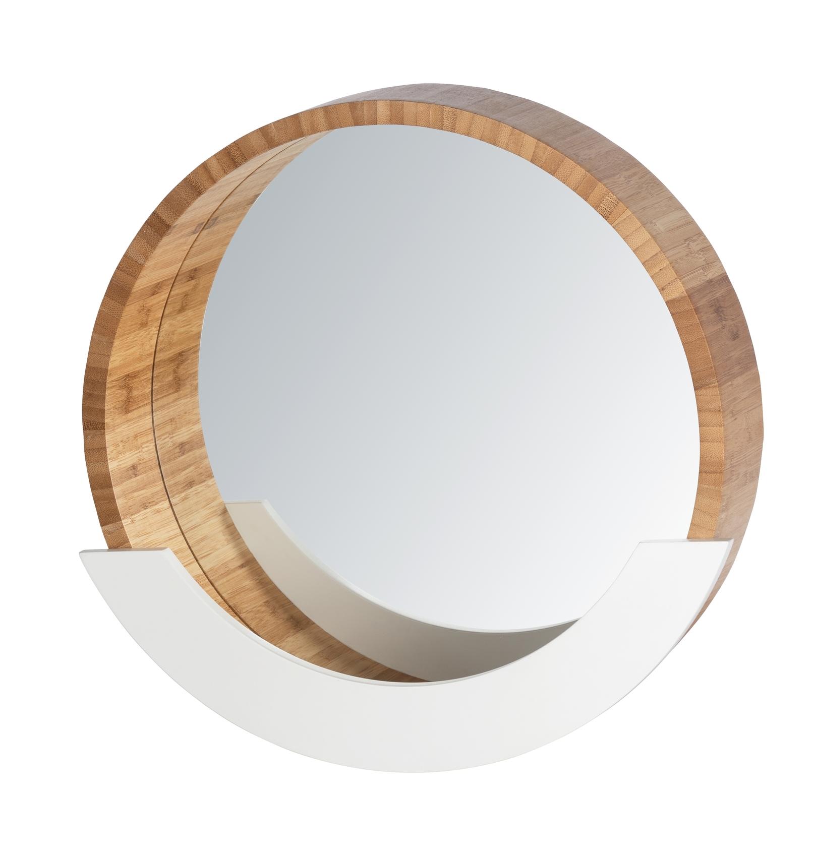 Oglinda pentru baie cu etajera, cu rama din bambus si MDF, Finja Natural / Alb, Ø39xA9,5xH38 cm poza