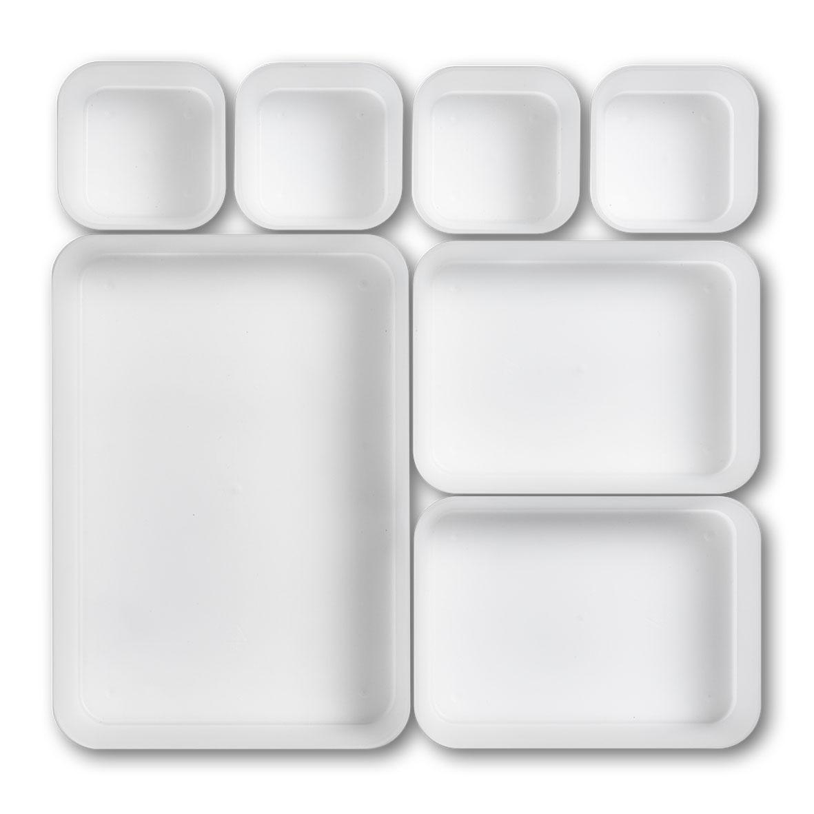 Organizator accesorii de birou, din plastic, Tray Transparent, 7 compartimente individuale imagine