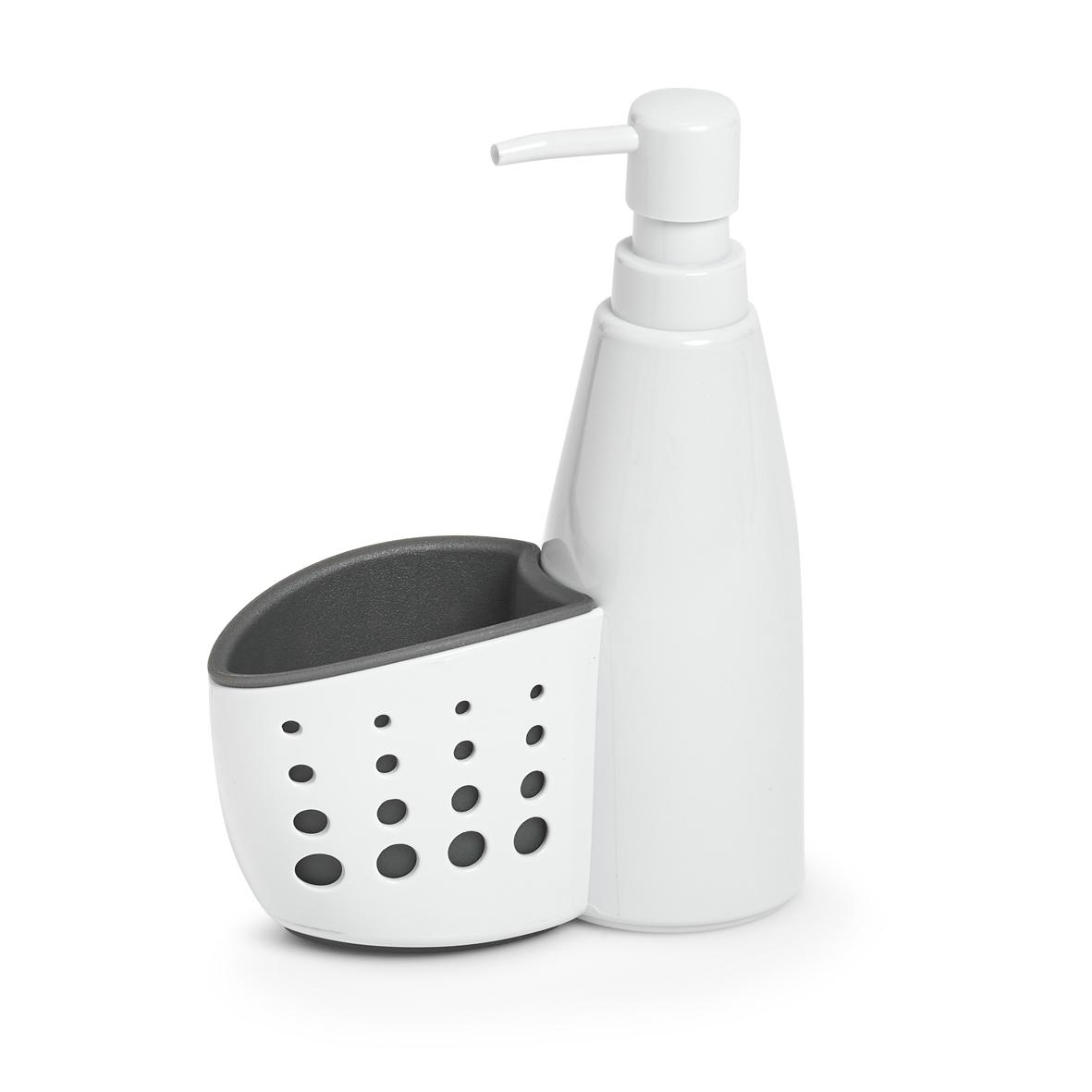 Organizator cu dozator din plastic, pentru produse de curatenie, Sink Alb, l16xA7xH21 cm imagine