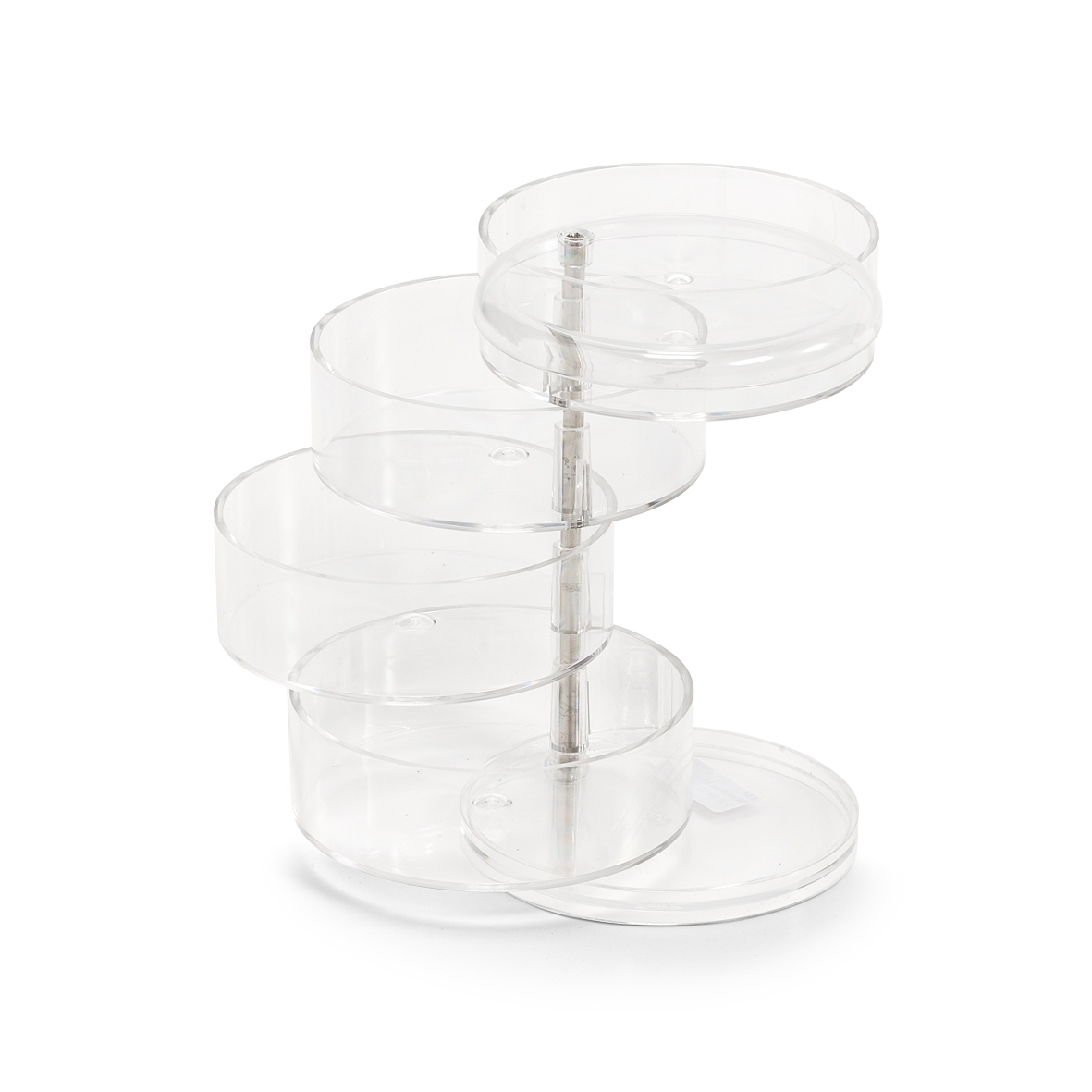 Organizator pentru bijuterii din plastic, Transparent, 4 compartimente, Ø 11,5xH17,6 cm imagine