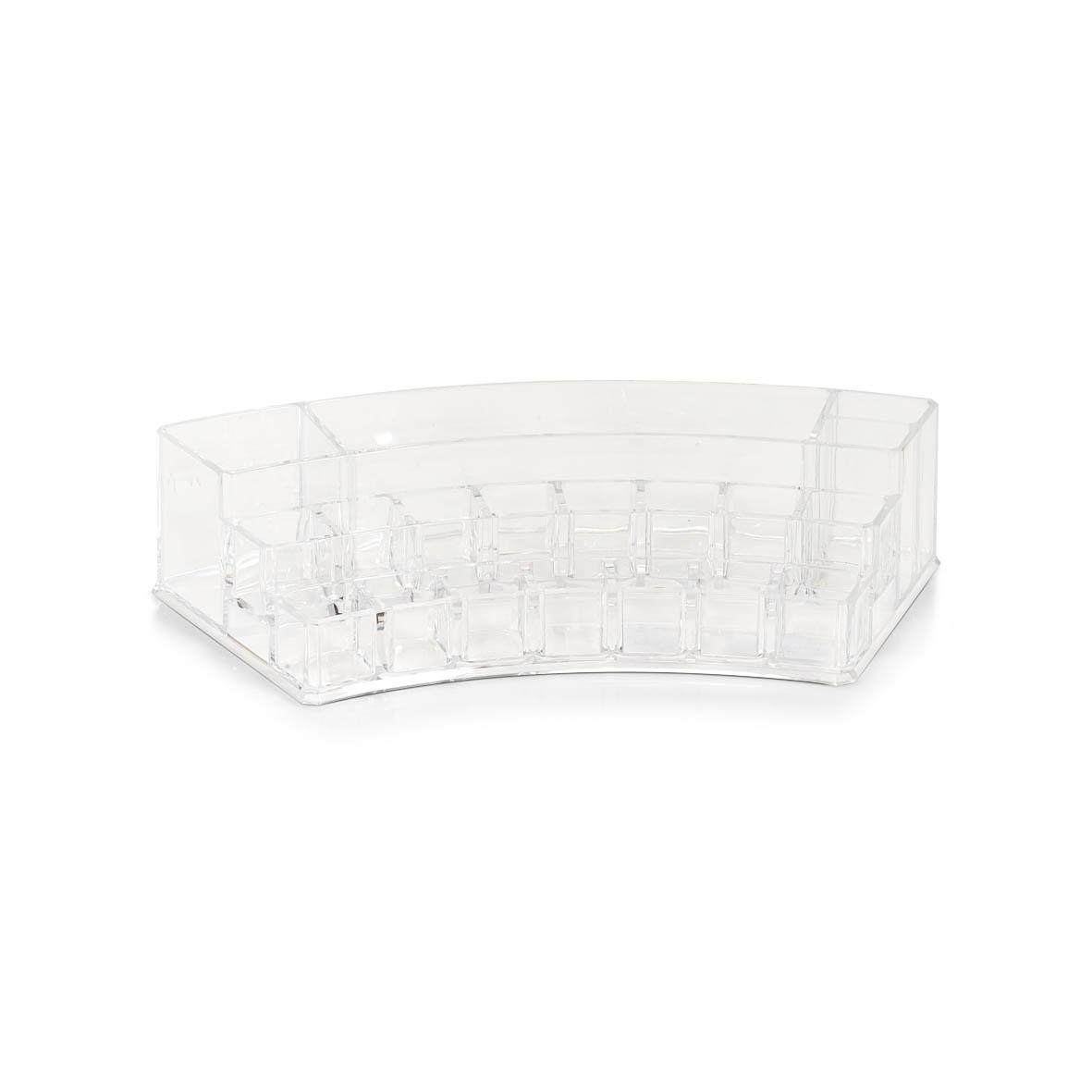 Organizator pentru cosmetice din plastic, Transparent, 18 compartimente, l28,8xA13,8xH6,5 cm imagine