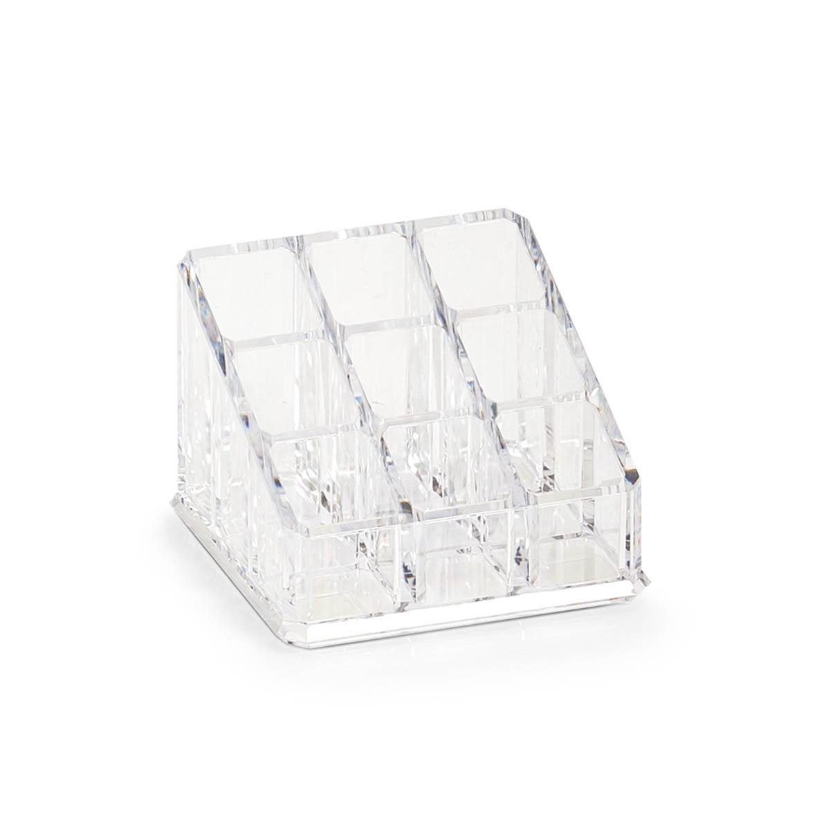 Organizator pentru cosmetice din plastic, Transparent, 9 compartimente, l9xA9xH6,5 cm imagine
