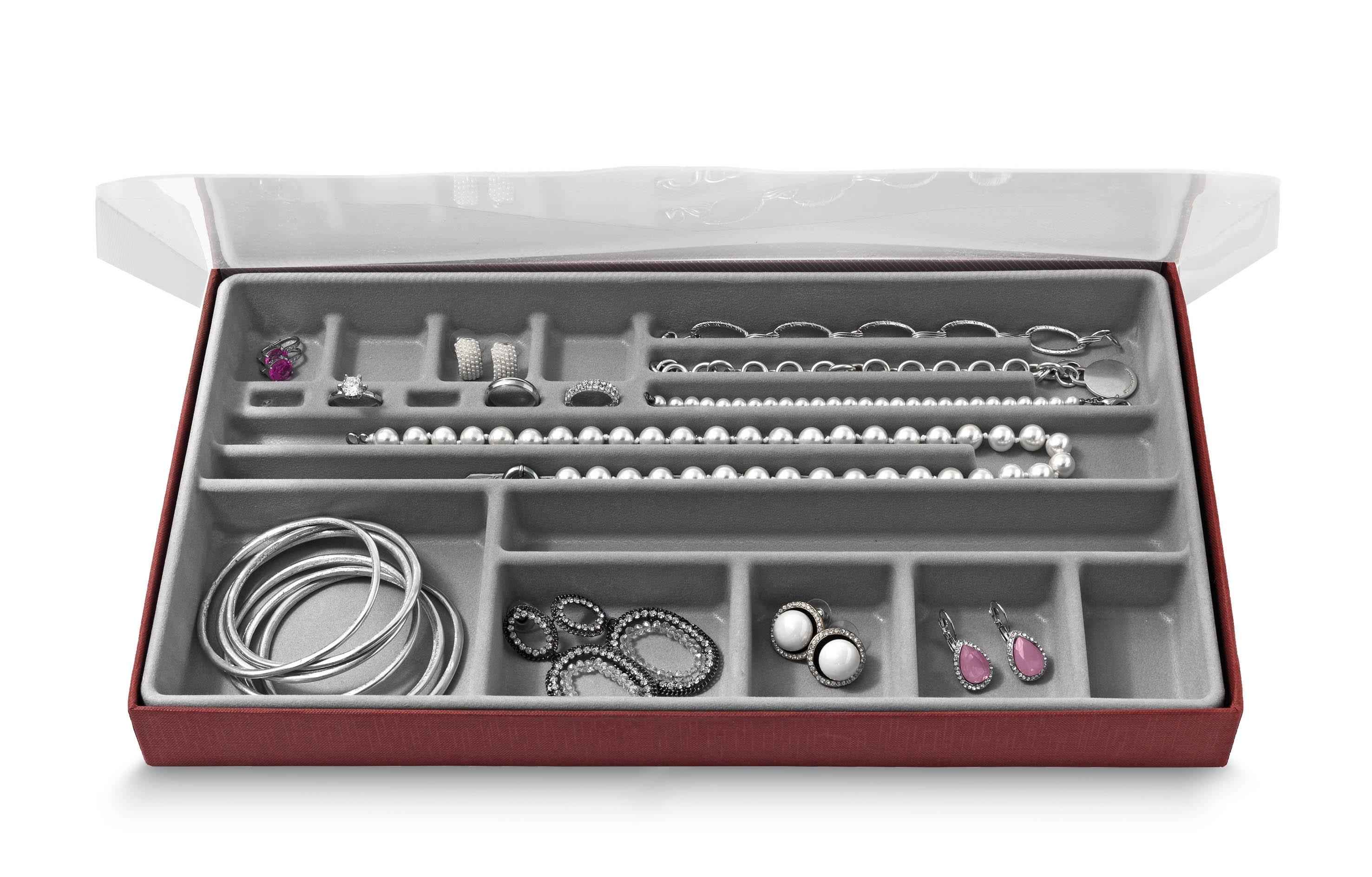 Organizator pentru sertar cu 19 compartimente, Jewel Gri, l37xA21,5xH3,5 cm