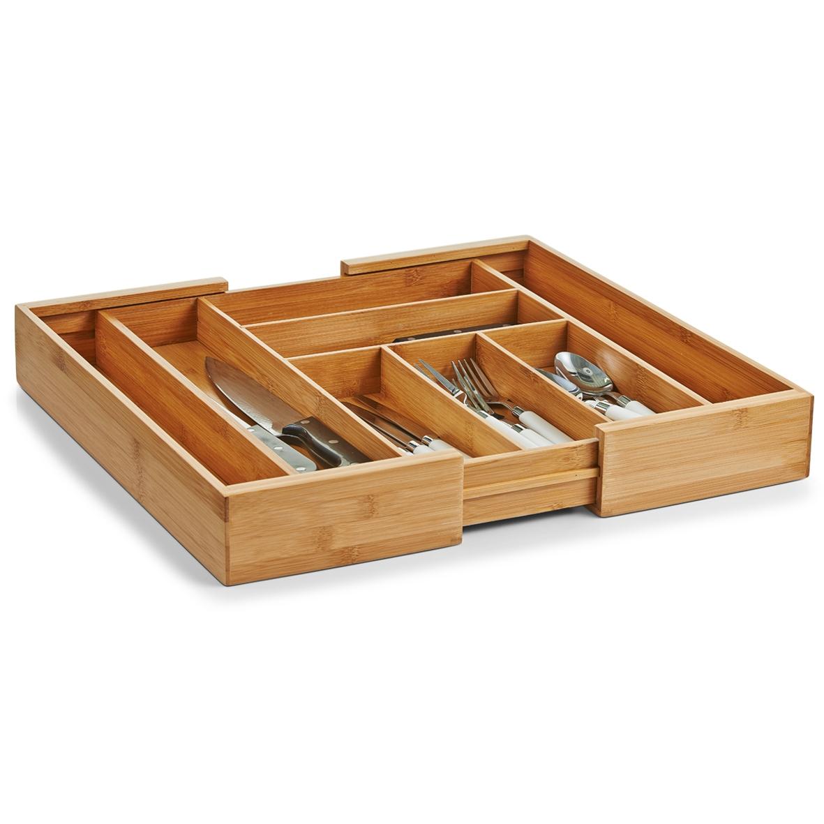 Organizator pentru tacamuri, Bamboo, 8 compartimente, l35-58xA43xH6,5 cm imagine