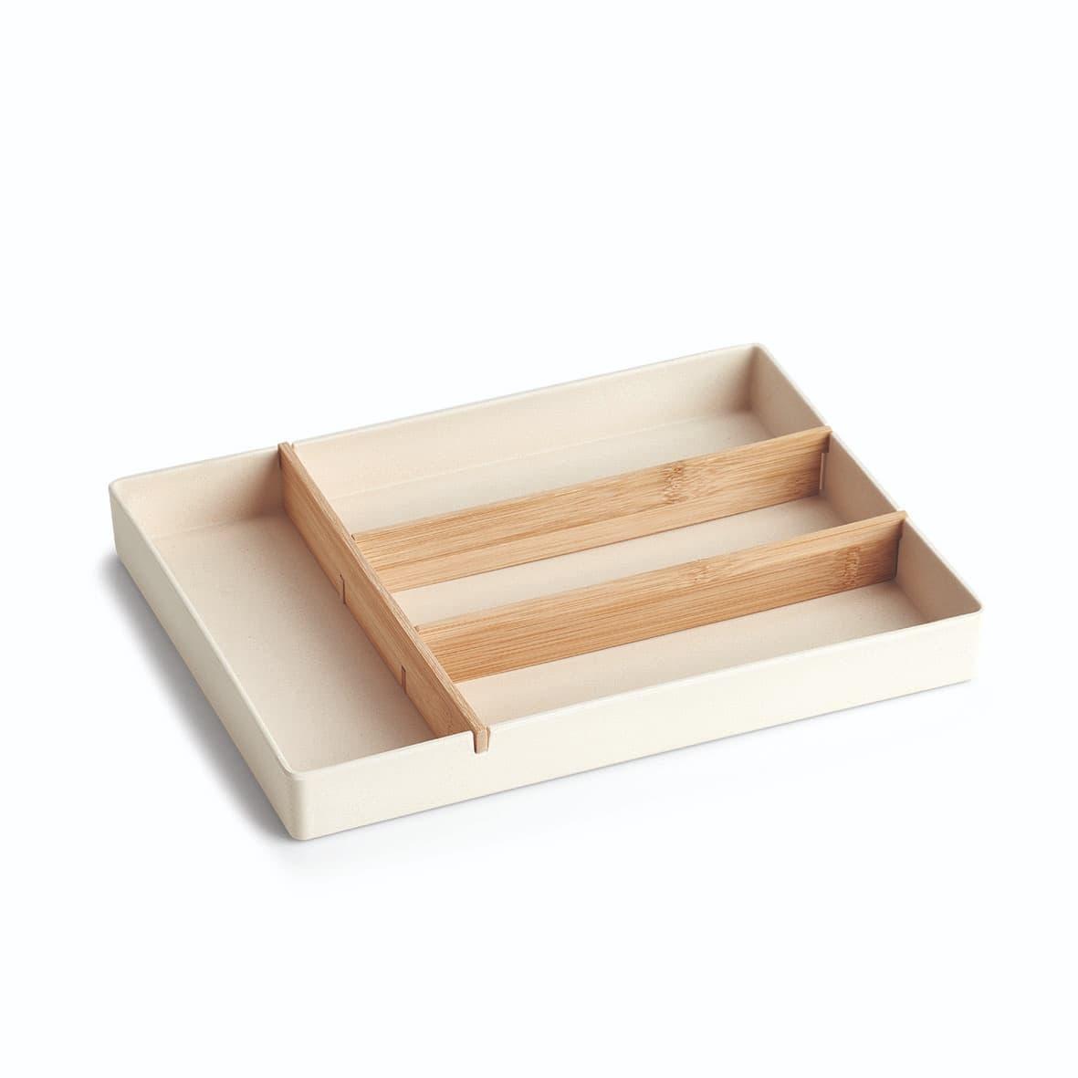 Organizator pentru tacamuri, cu 4 compartimente, din fibre de bambus, Cutlery Natural, L33xl25xH3,8 cm imagine