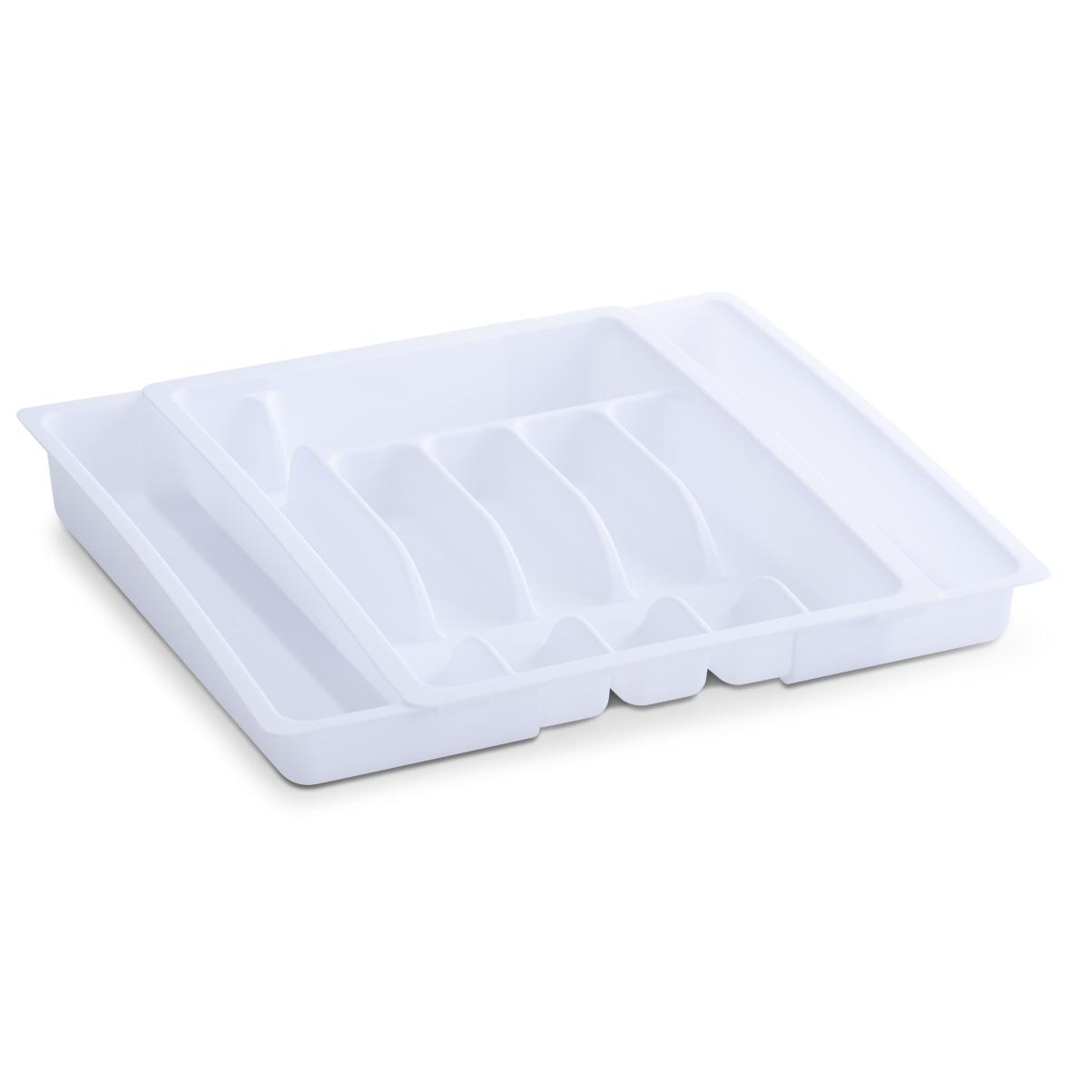 Organizator pentru tacamuri, din plastic, Tray Alb, 6-8 compartimente, l29-50xA38xH6,5 cm imagine