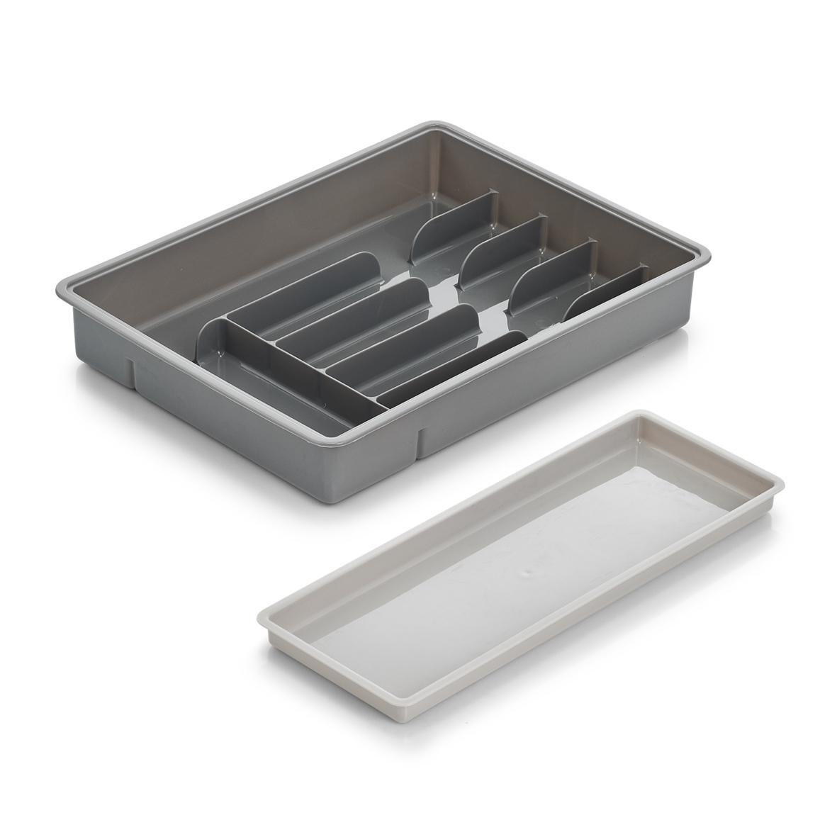 Organizator pentru tacamuri, din plastic, Tray Gri, 7 compartimente, l38xA28,5xH6 cm poza