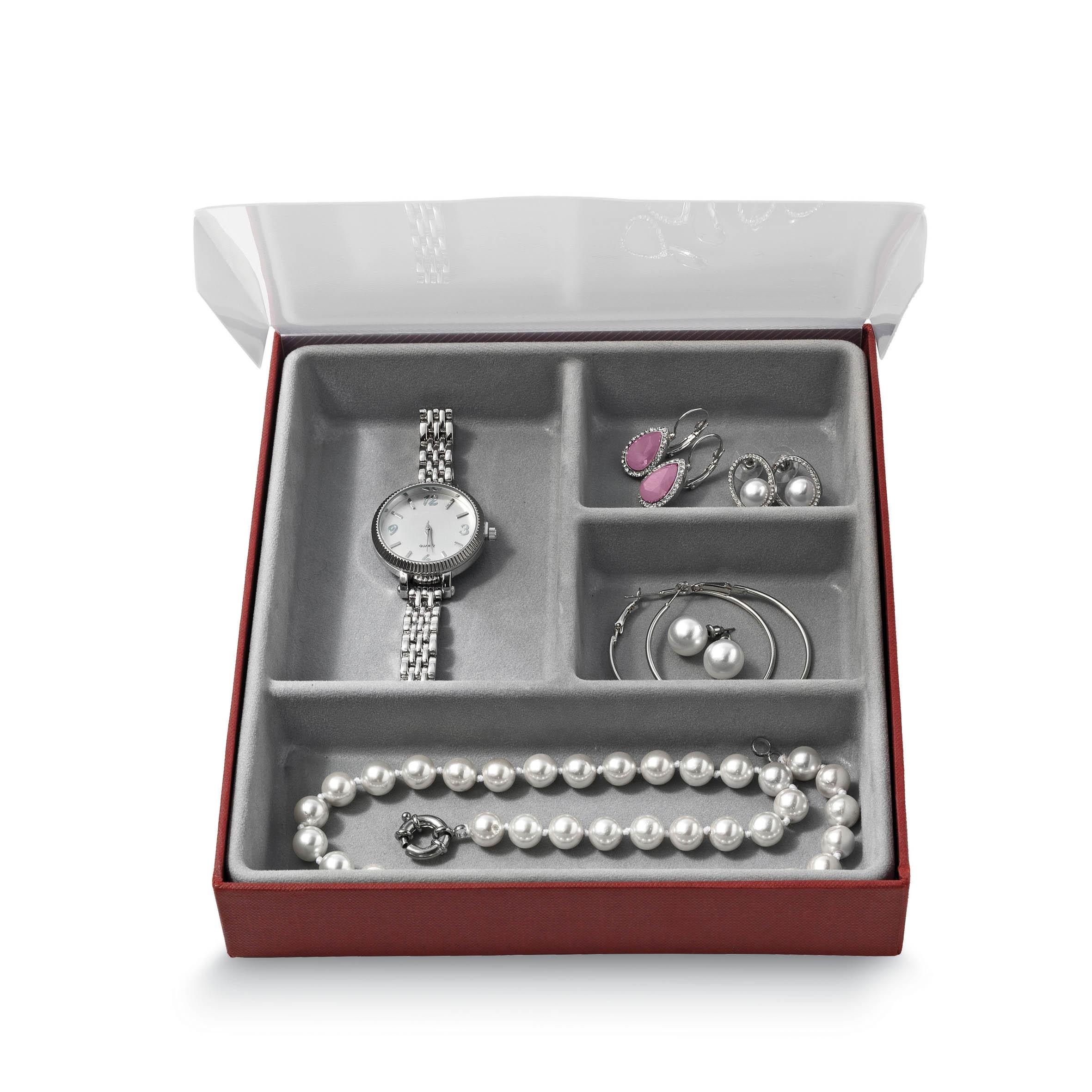 Organizator pentru sertar cu 4 compartimente, Jewel Gri, l18,5xA21,5xH3,5 cm poza