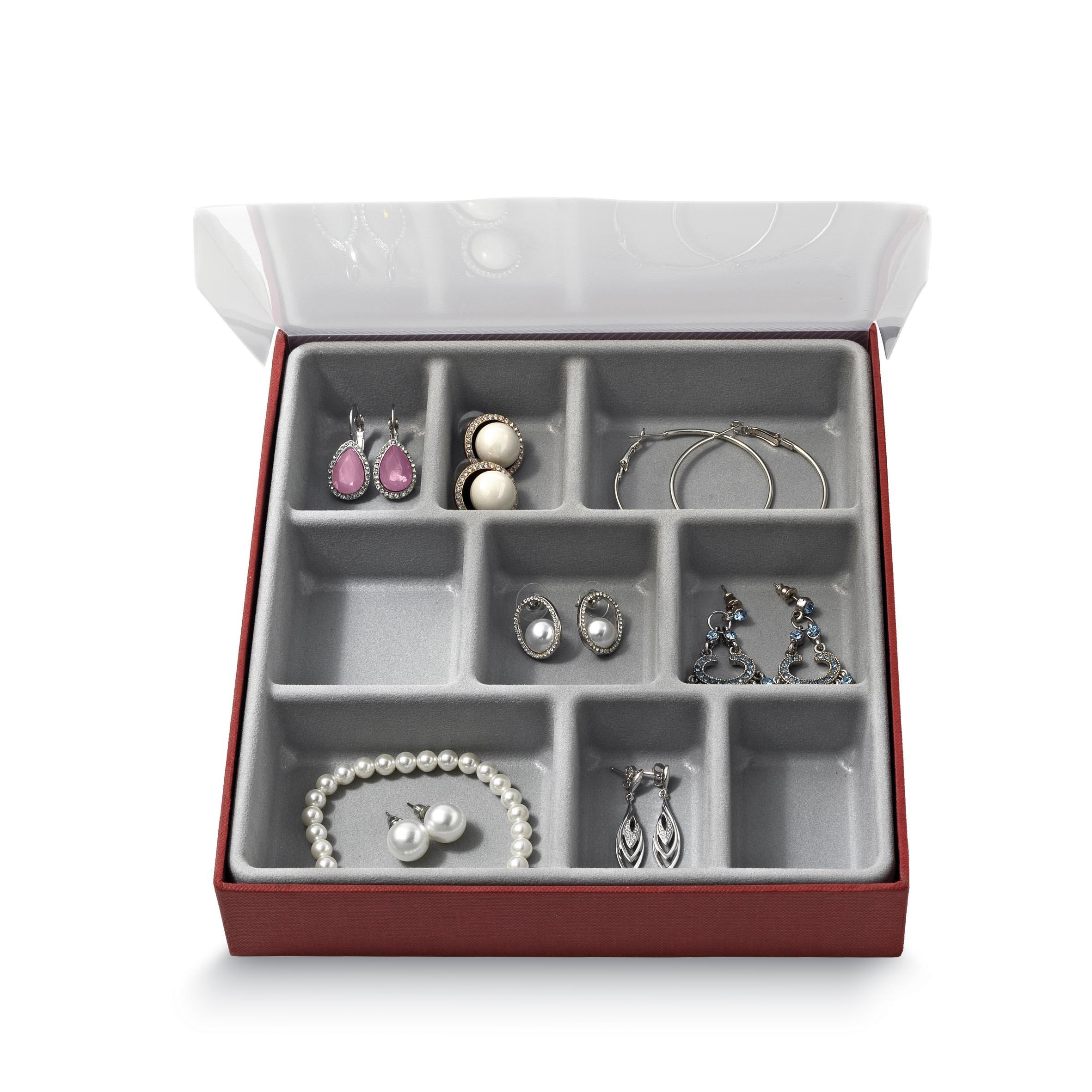 Organizator pentru sertar cu 9 compartimente, Jewel Gri, l18,5xA21,5xH3,5 cm imagine