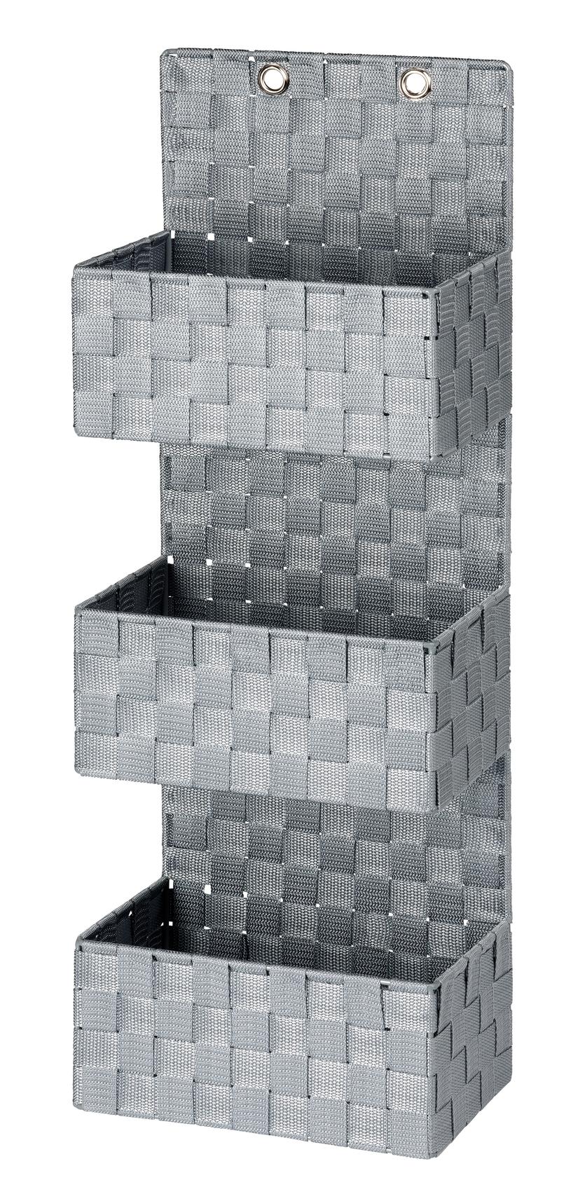 Organizator suspendat din polipropilena, cu 3 compartimente, Adria Gri, l25xA15,5xH72 cm imagine