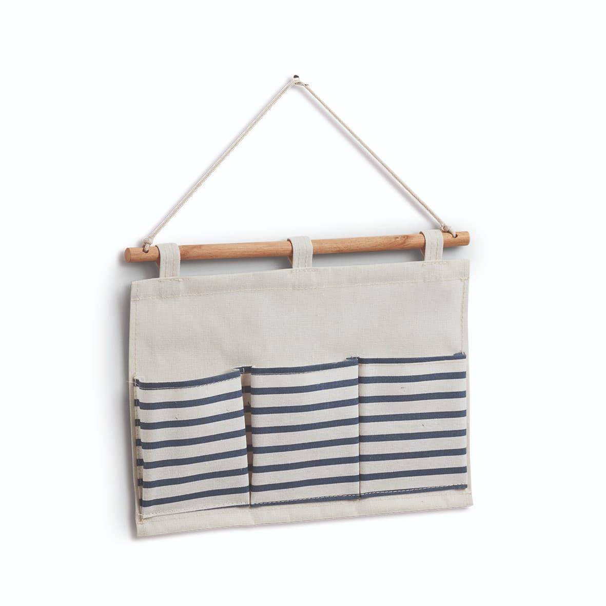 Organizator textil de perete cu 3 compartimente, Stripes Alb / Bleumarin, l35xH25 cm poza