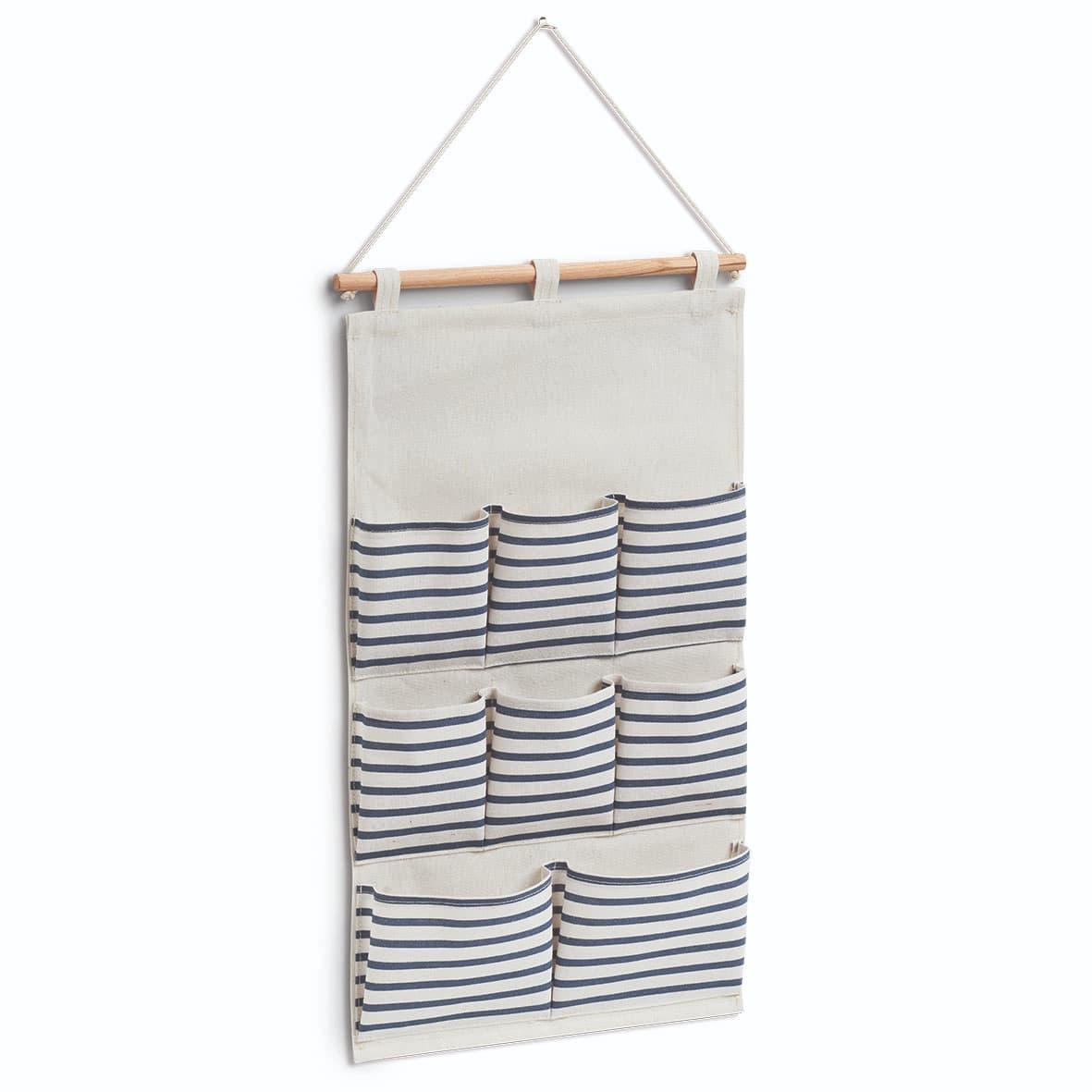 Organizator textil de perete cu 8 compartimente, Stripes Alb / Bleumarin, l35xH60 cm poza