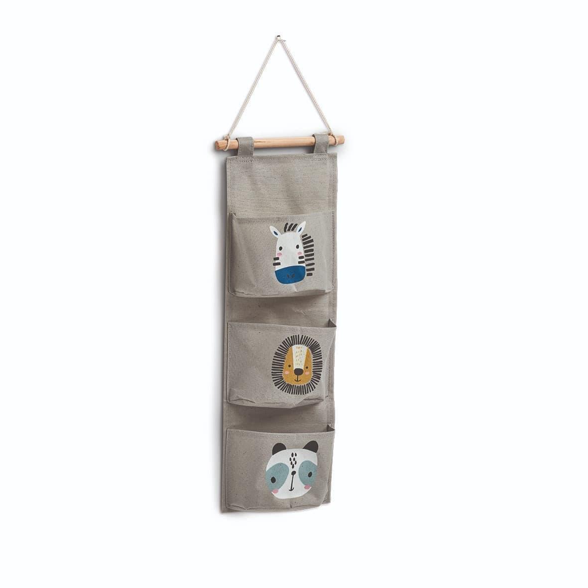 Organizator textil de perete pentru copii, cu 3 compartimente, Animals Tall Gri, l35xH81,5 cm