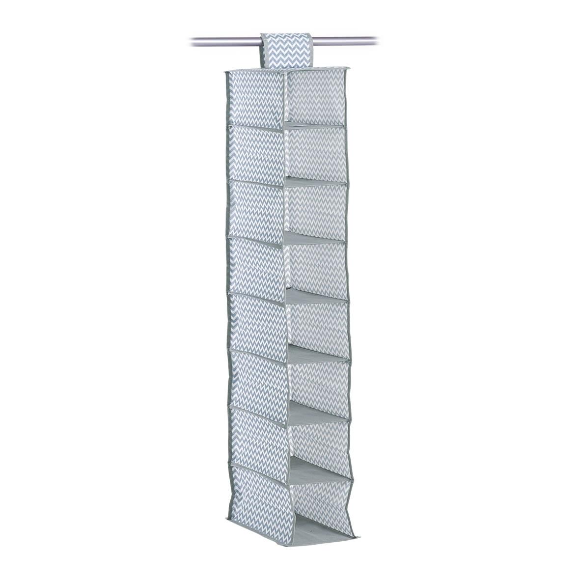 Organizator textil pentru dulap, Alb / Gri Zig Zag, l18xA30xH105 cm poza