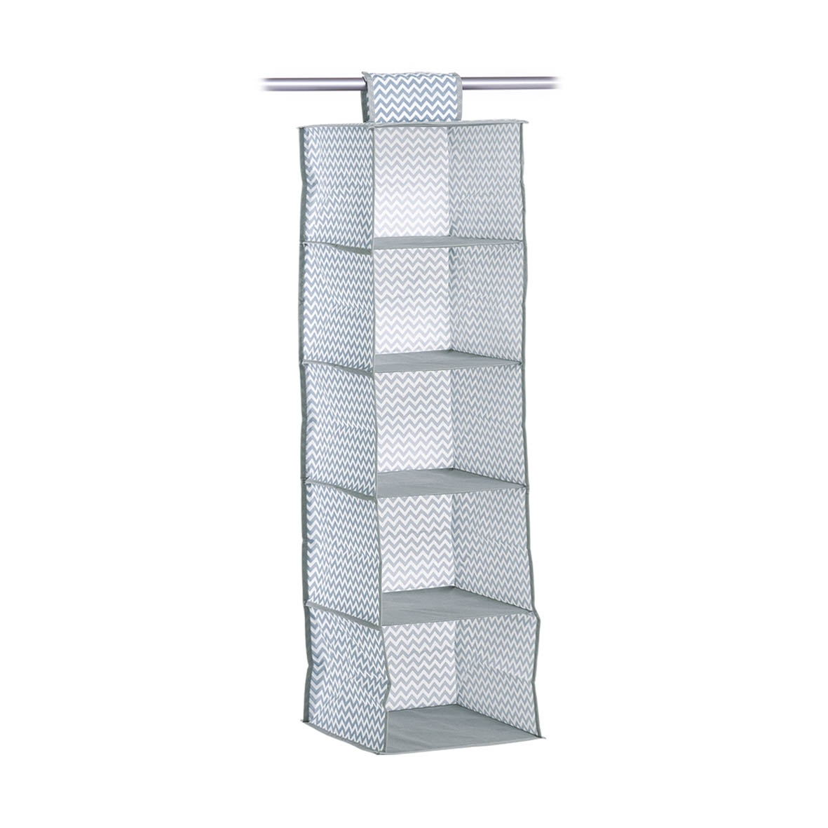 Organizator textil pentru dulap, Alb / Gri Zig Zag, l28xA28xH95 cm
