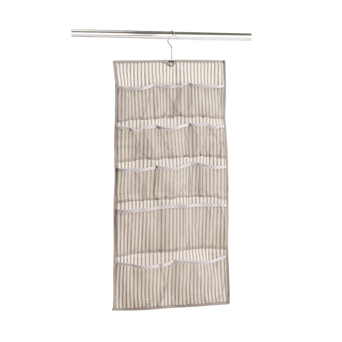 Organizator textil pentru dulap cu 12 compartimente, Bej Stripes, l40xH80 cm imagine