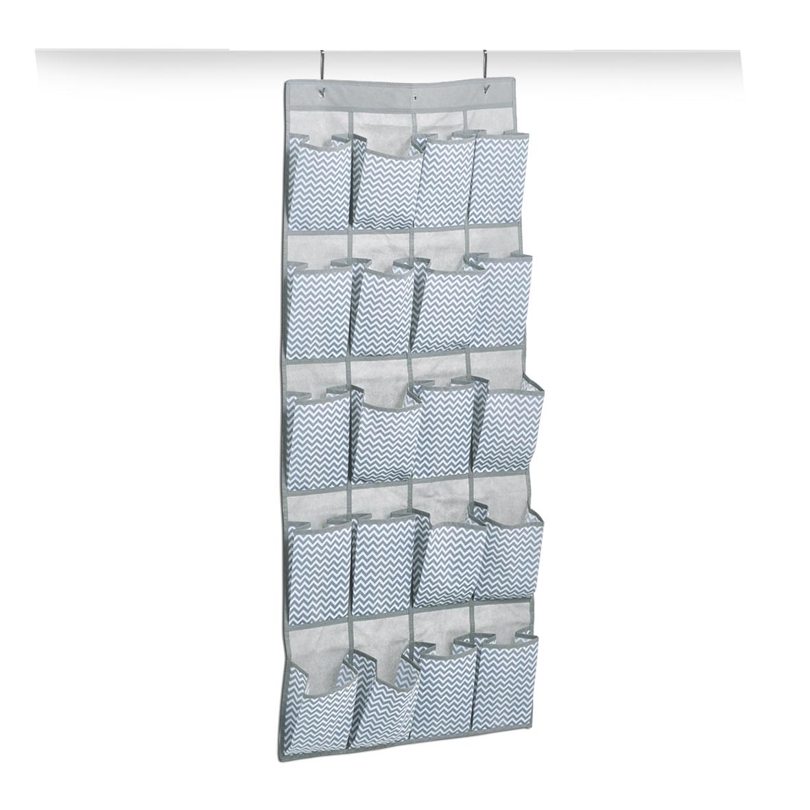 Organizator textil pentru dulap cu 20 de compartimente, Alb / Gri Zig Zag, l56xH136 cm imagine