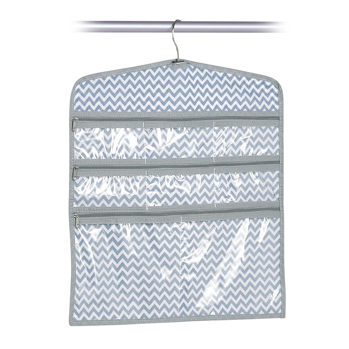 Organizator textil pentru dulap cu 8 de compartimente, Alb / Gri Zig Zag, l44xH45 cm