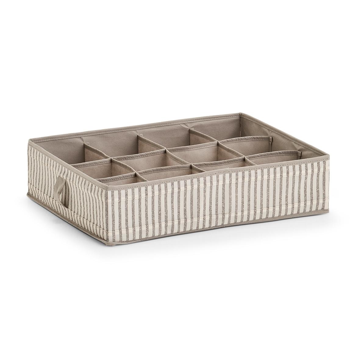 Organizator textil pentru sertar cu 12 compartimente, Bej Stripes, l44xA34xH11 cm imagine