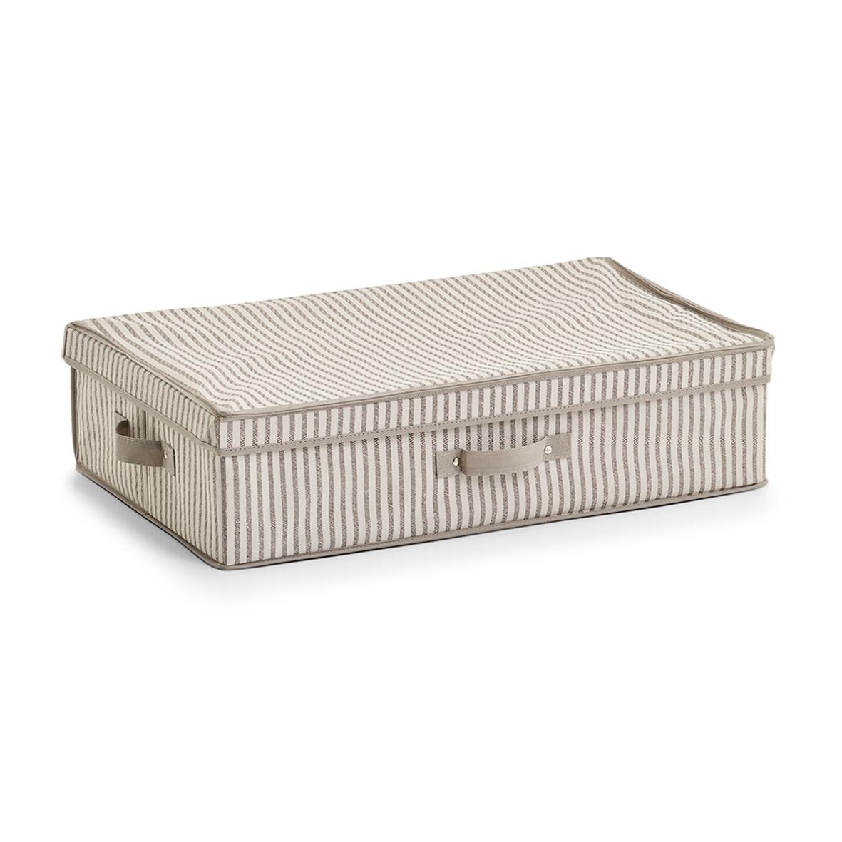 Organizator textil pliabil cu capac, Bej Stripes, l61,5xA38xH16,5 cm imagine