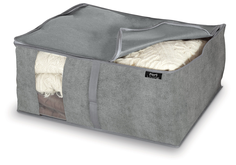Organizator textil pliabil cu fermoar, Stone L Gri, L55xl45xH25 cm imagine