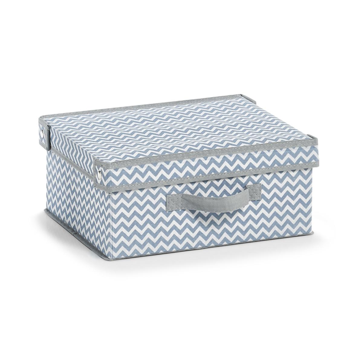 Organizator textil pliabil pentru sertar cu capac, Alb / Gri Zig Zag, l33xA28xH15 cm imagine