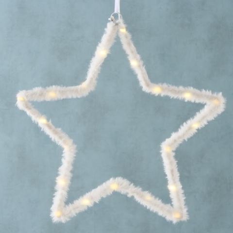 Ornament cu LED de Craciun Jojo Star Alb, 35 cm imagine