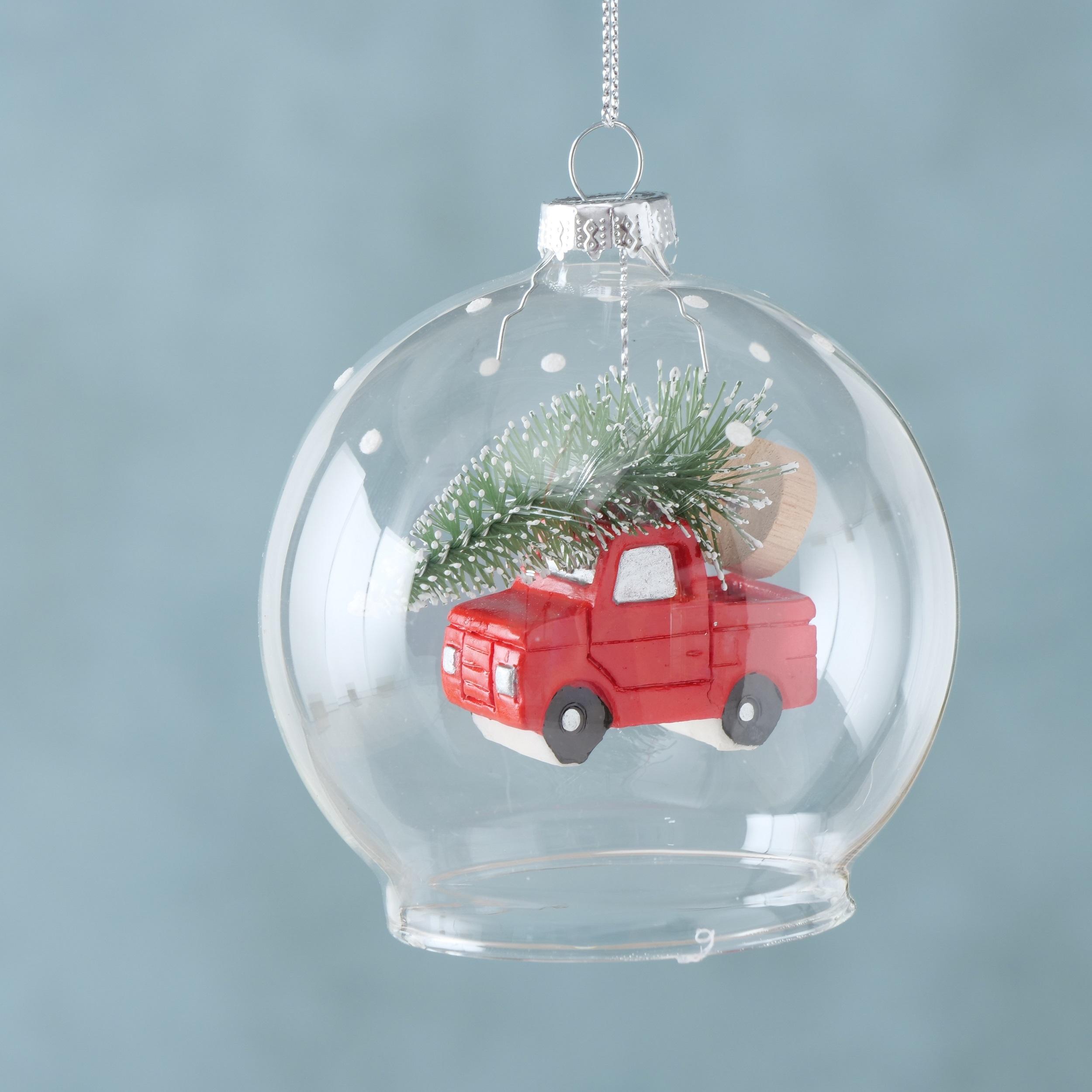 Ornament pentru brad, din sticla Little Car Rosu, Ø8 cm